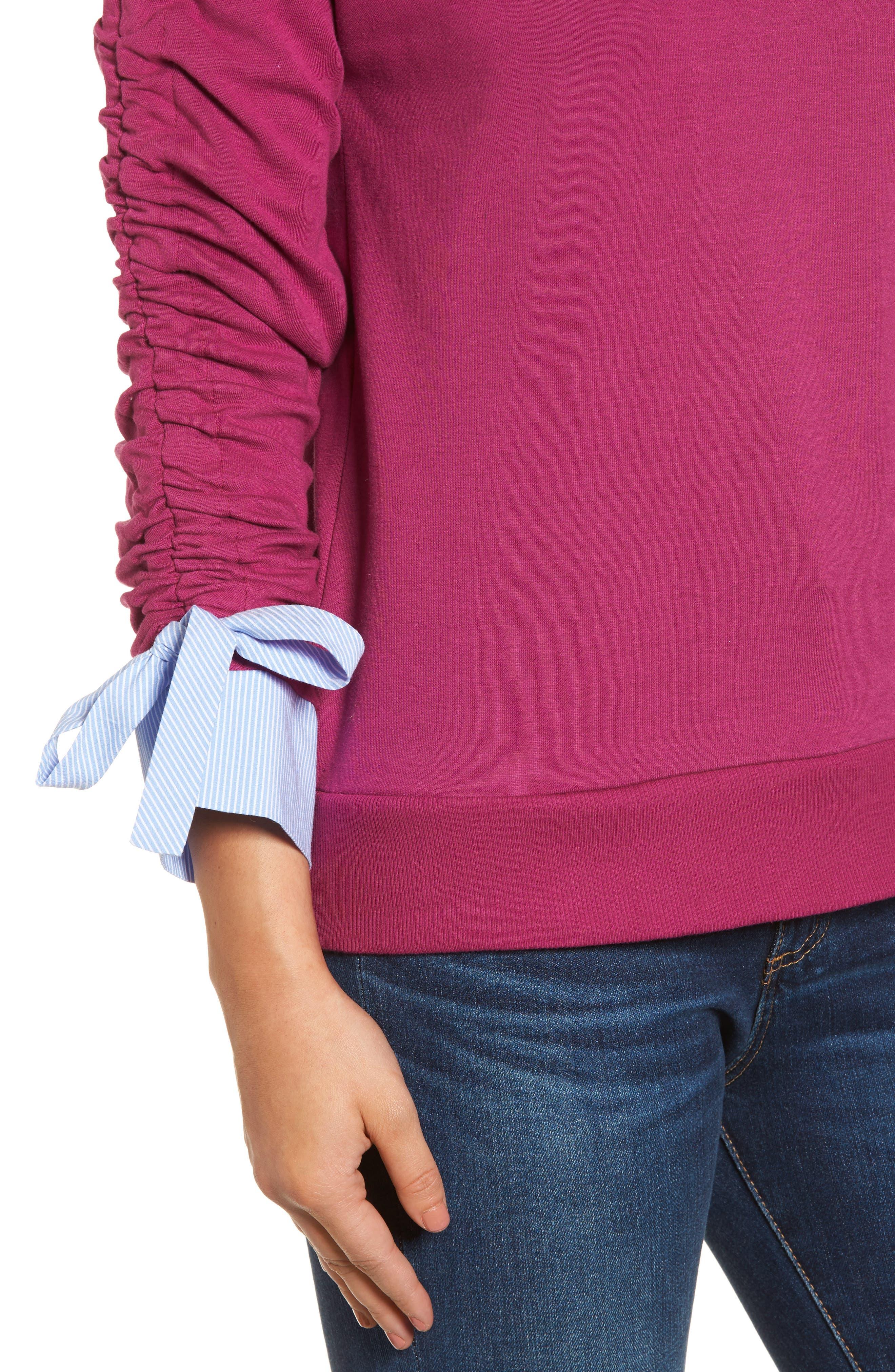 Ruched Sleeve Poplin Trim Sweatshirt,                             Alternate thumbnail 16, color,
