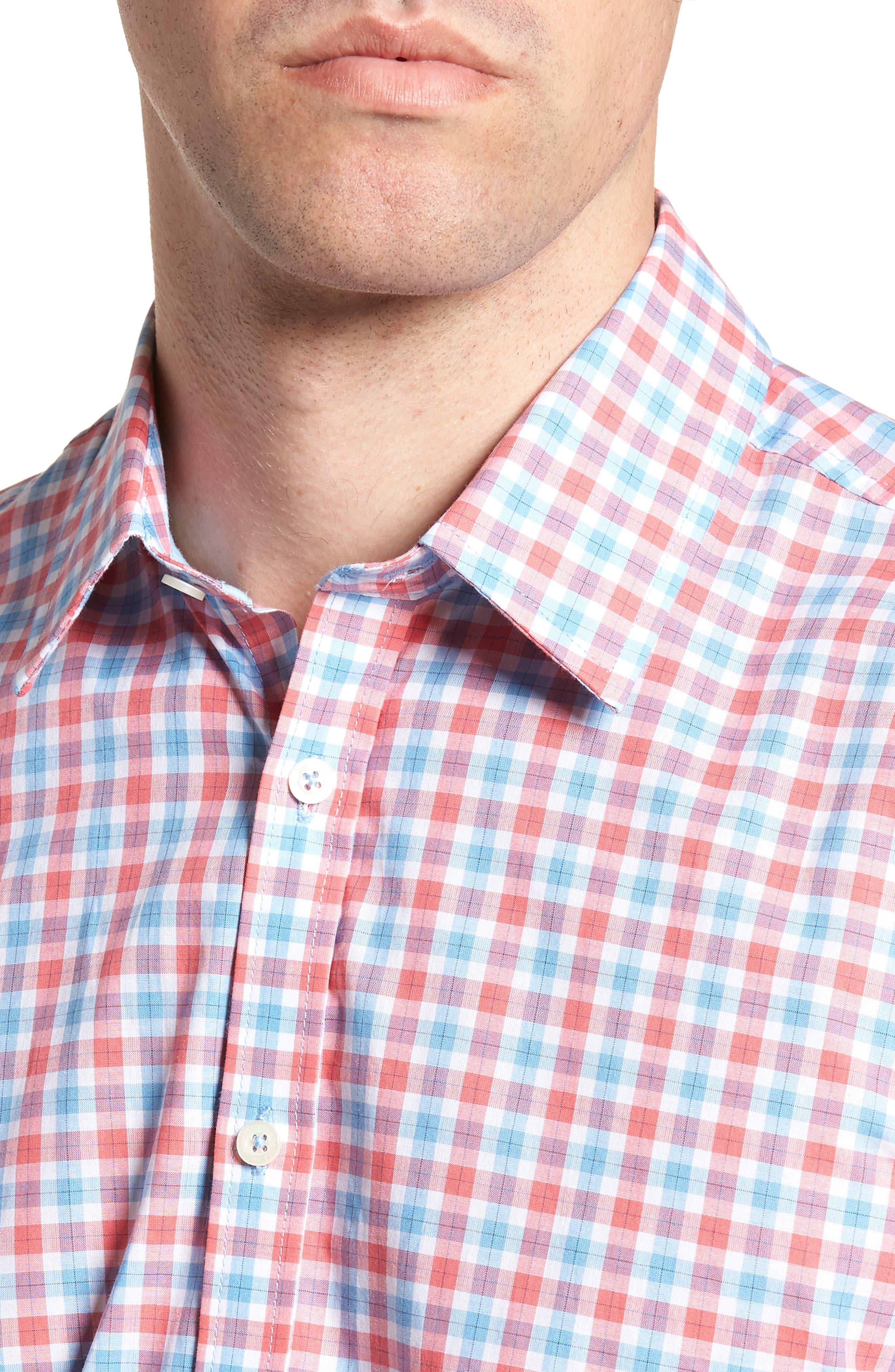 Slim Fit Check Sport Shirt,                             Alternate thumbnail 4, color,                             814