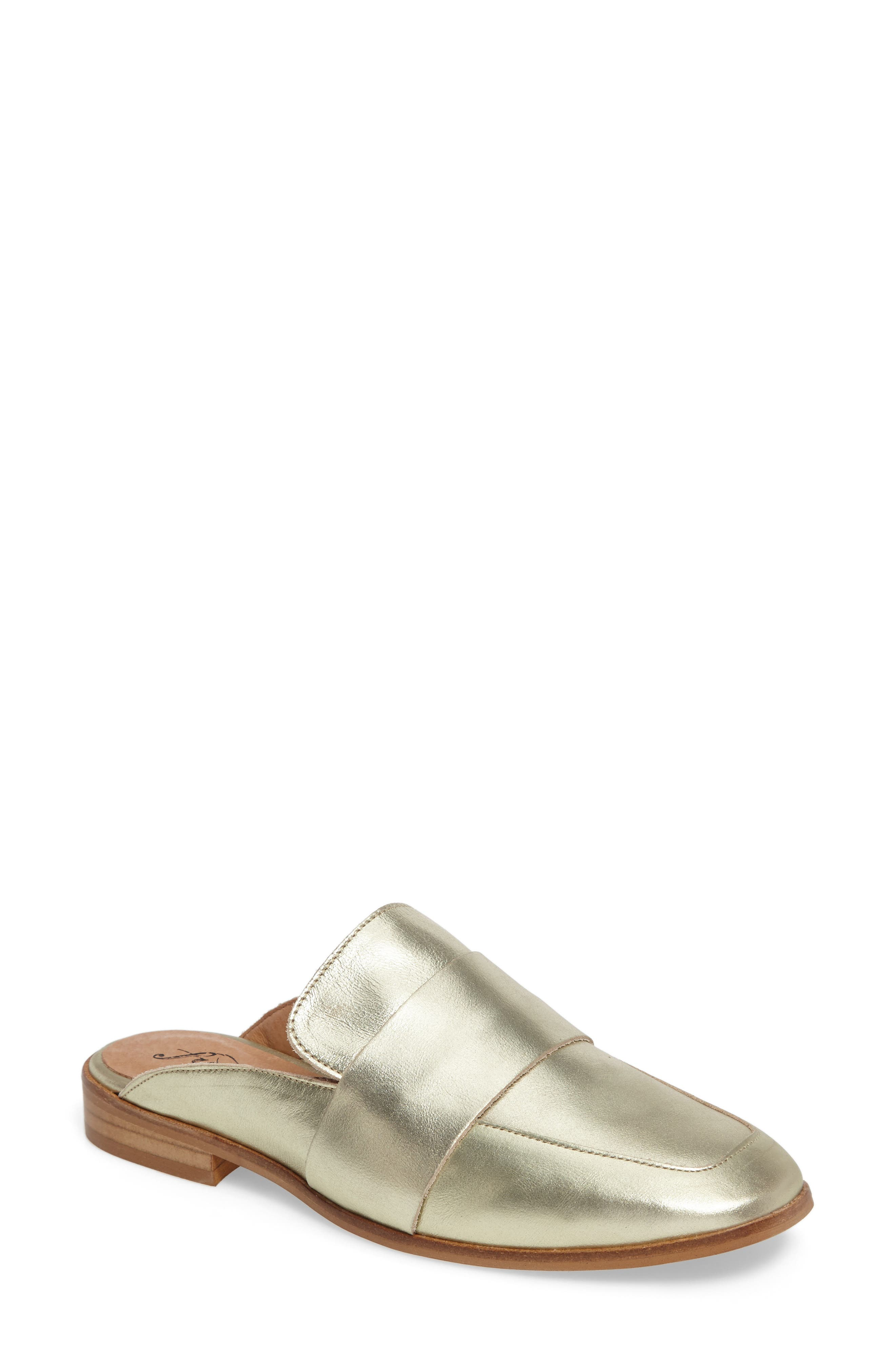 At Ease Loafer Mule,                             Main thumbnail 1, color,                             GOLD LEATHER