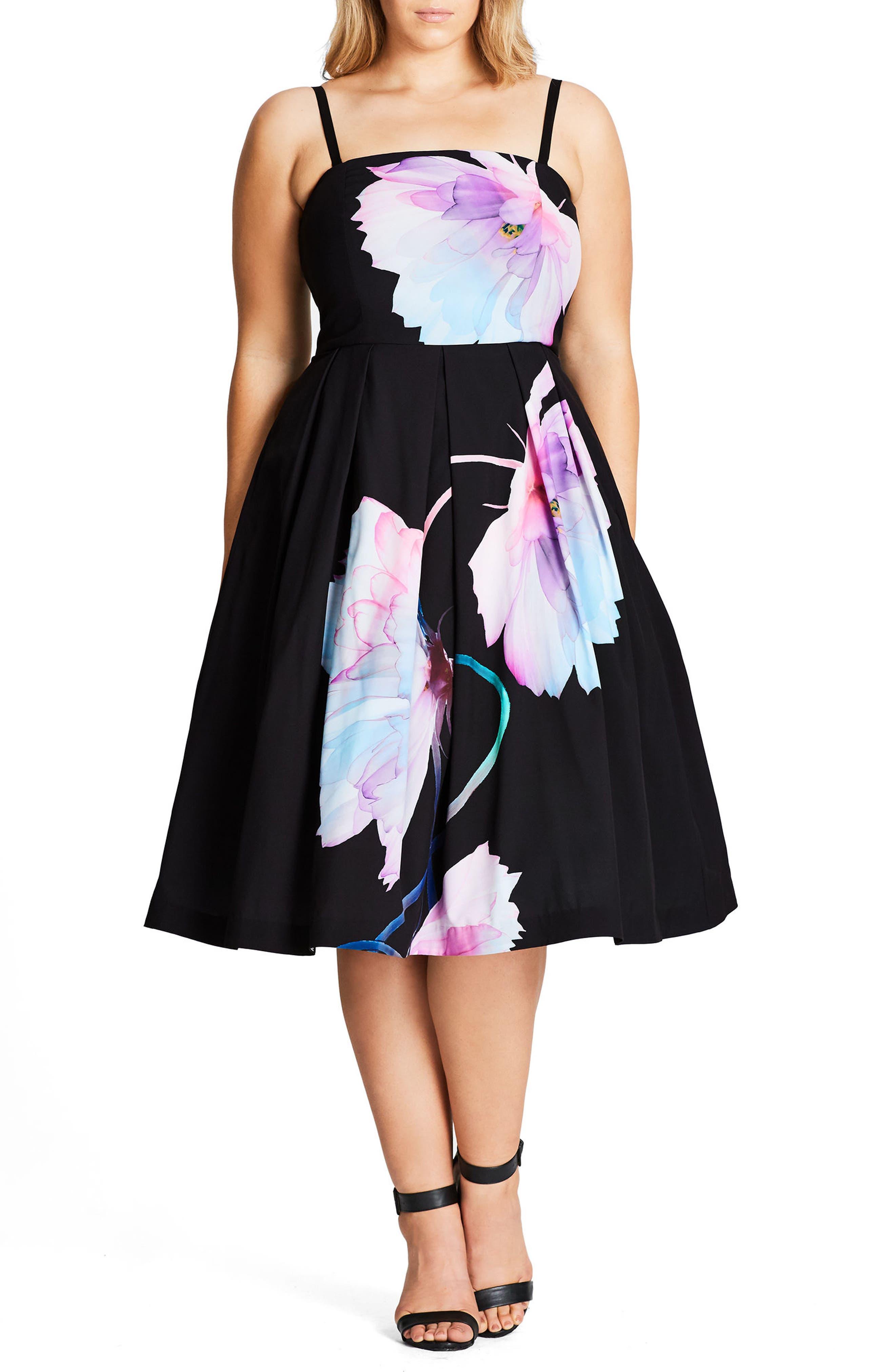 Pretty Bloom Convertible Sundress,                             Main thumbnail 1, color,                             BLACK