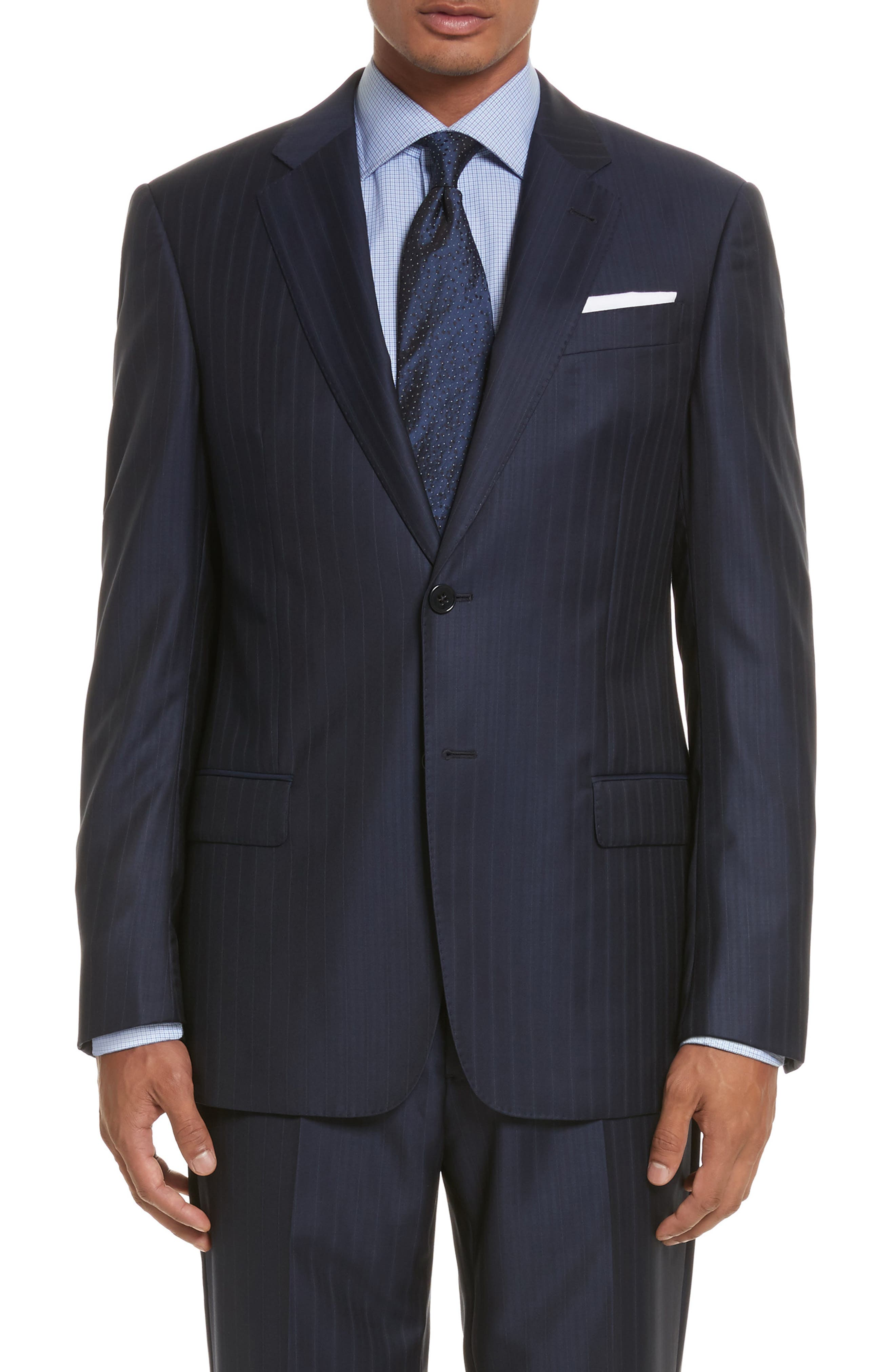 G-Line Trim Fit Stripe Wool Suit,                             Alternate thumbnail 5, color,                             433
