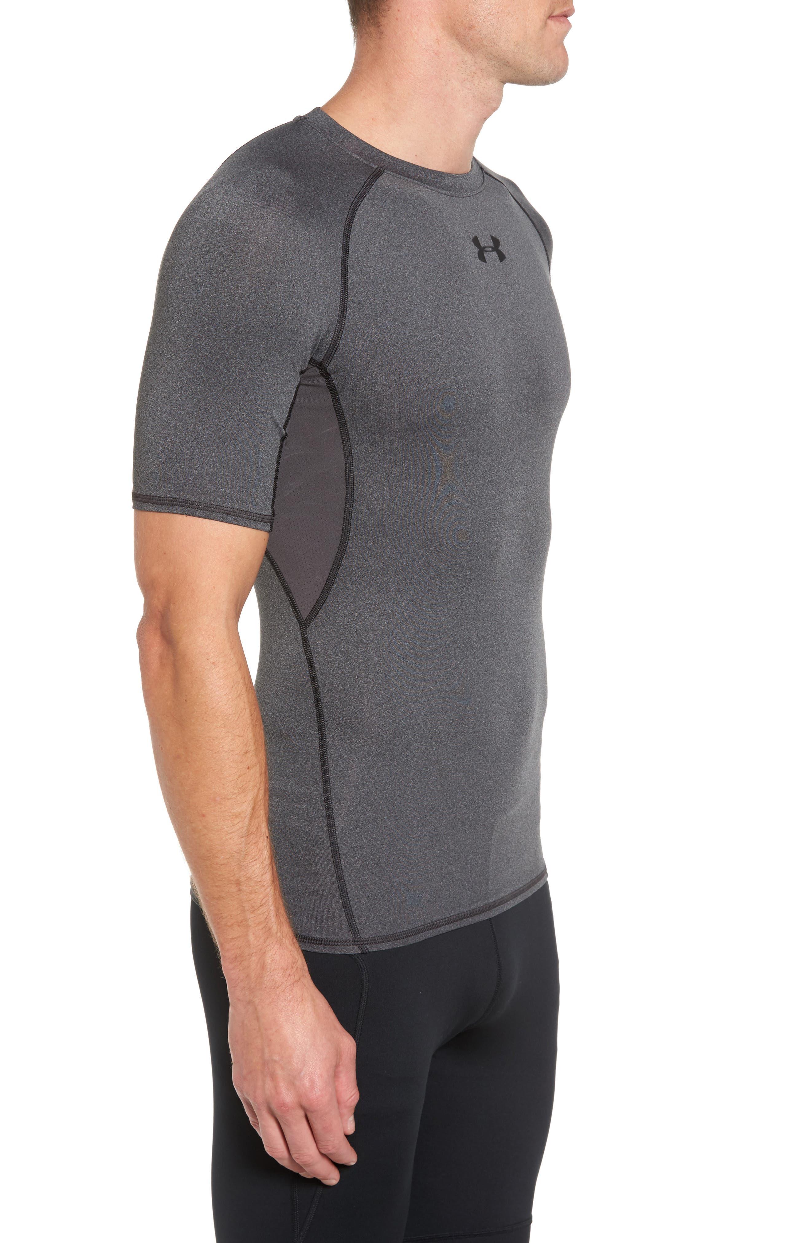 HeatGear<sup>®</sup> Compression Fit T-Shirt,                             Alternate thumbnail 4, color,                             CARBON HEATHER/ BLACK