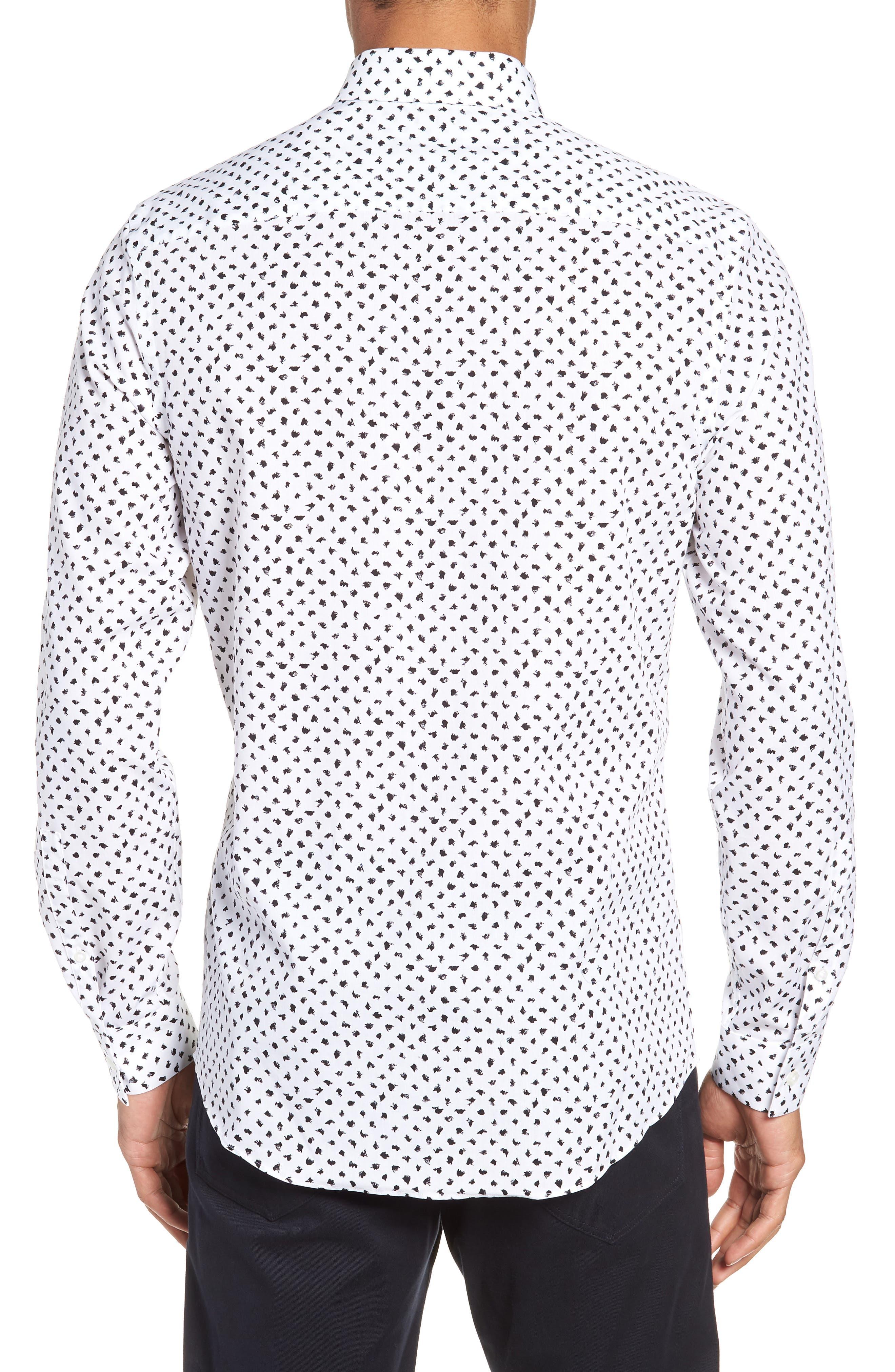 Non-Iron Print Sport Shirt,                             Alternate thumbnail 3, color,                             050