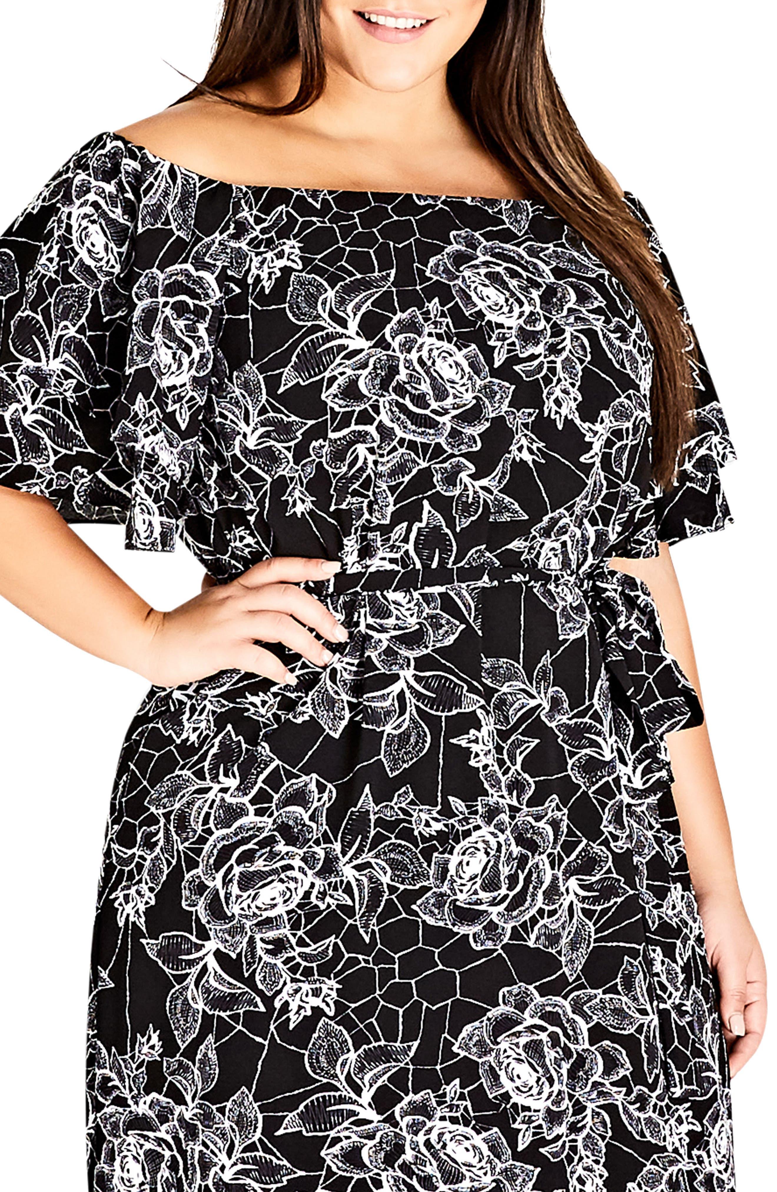 Rose Print Off the Shoulder Dress,                             Alternate thumbnail 3, color,                             ROSE WEB