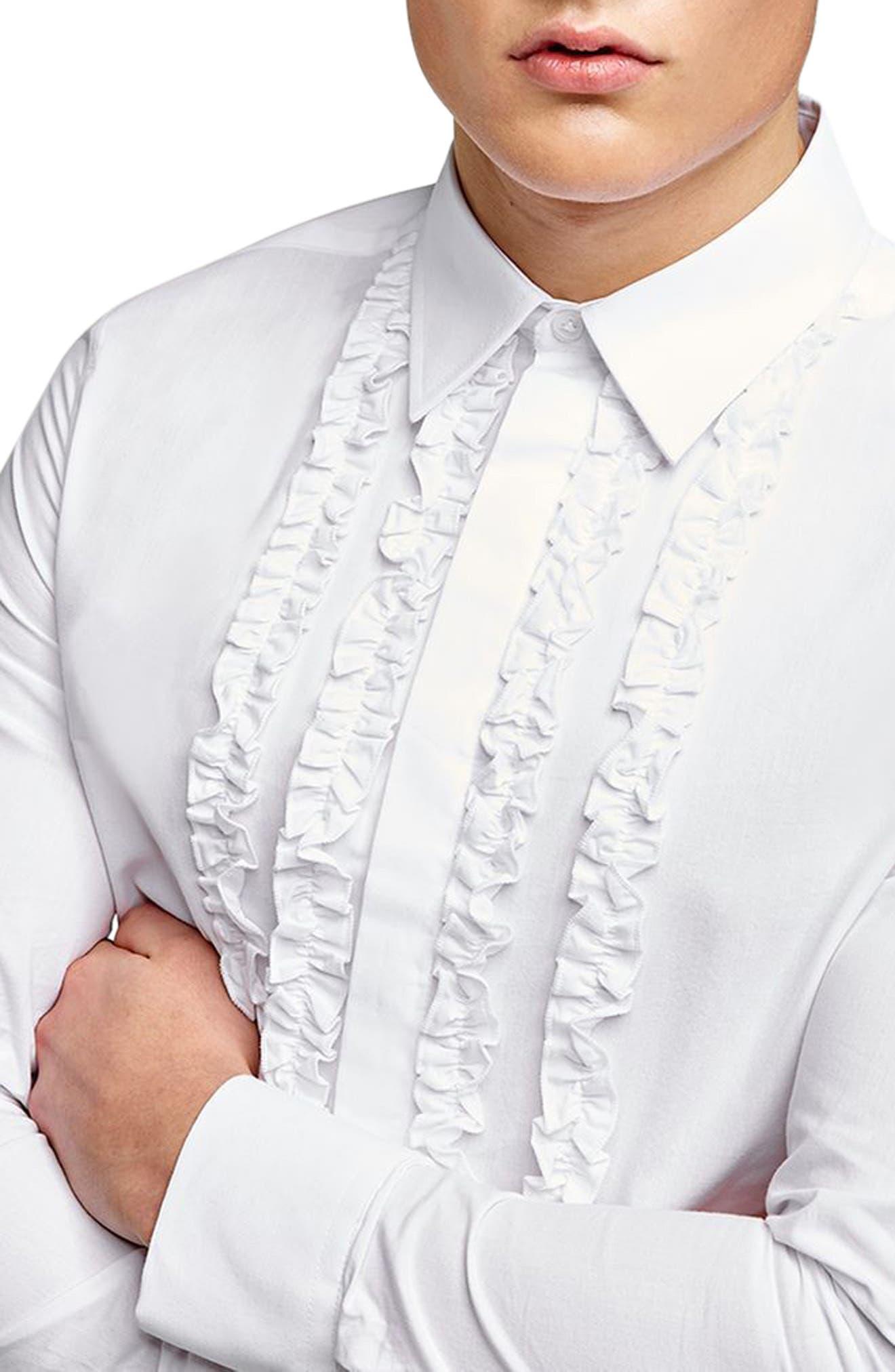 Slim Fit Ruffle Dress Shirt,                             Alternate thumbnail 3, color,                             100