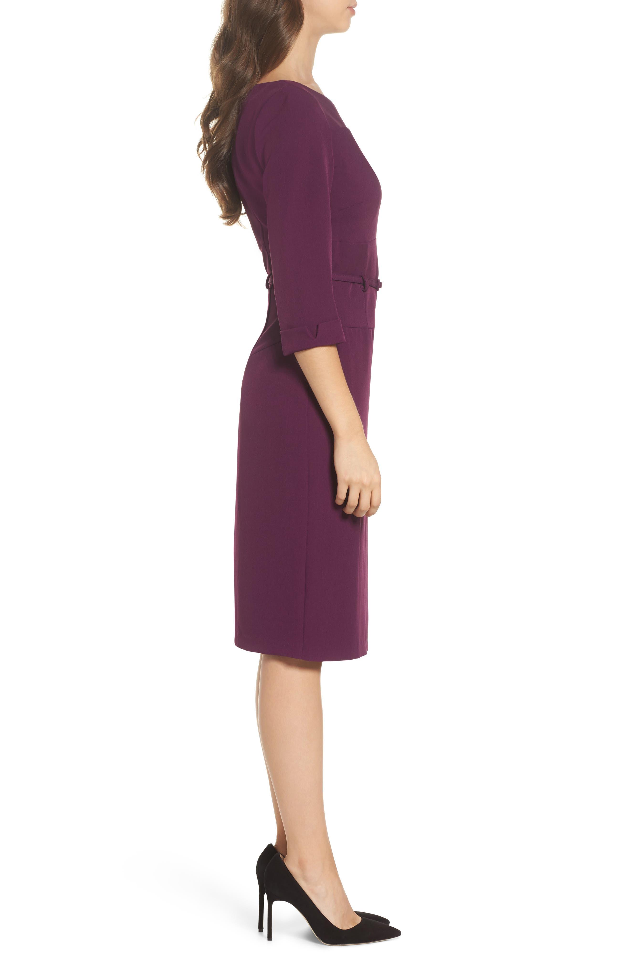 Belted Crepe Sheath Dress,                             Alternate thumbnail 3, color,                             606