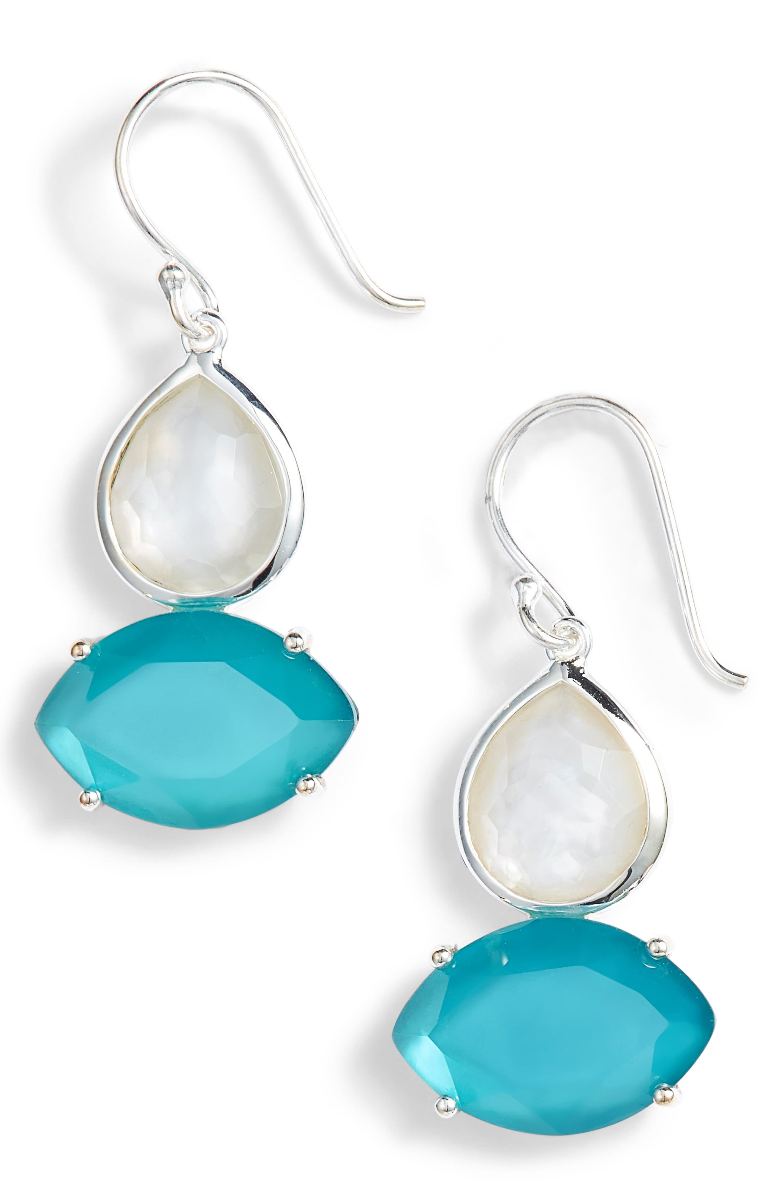 Wonderland 2-Stone Drop Earrings,                             Main thumbnail 1, color,                             BLUE/ MOP