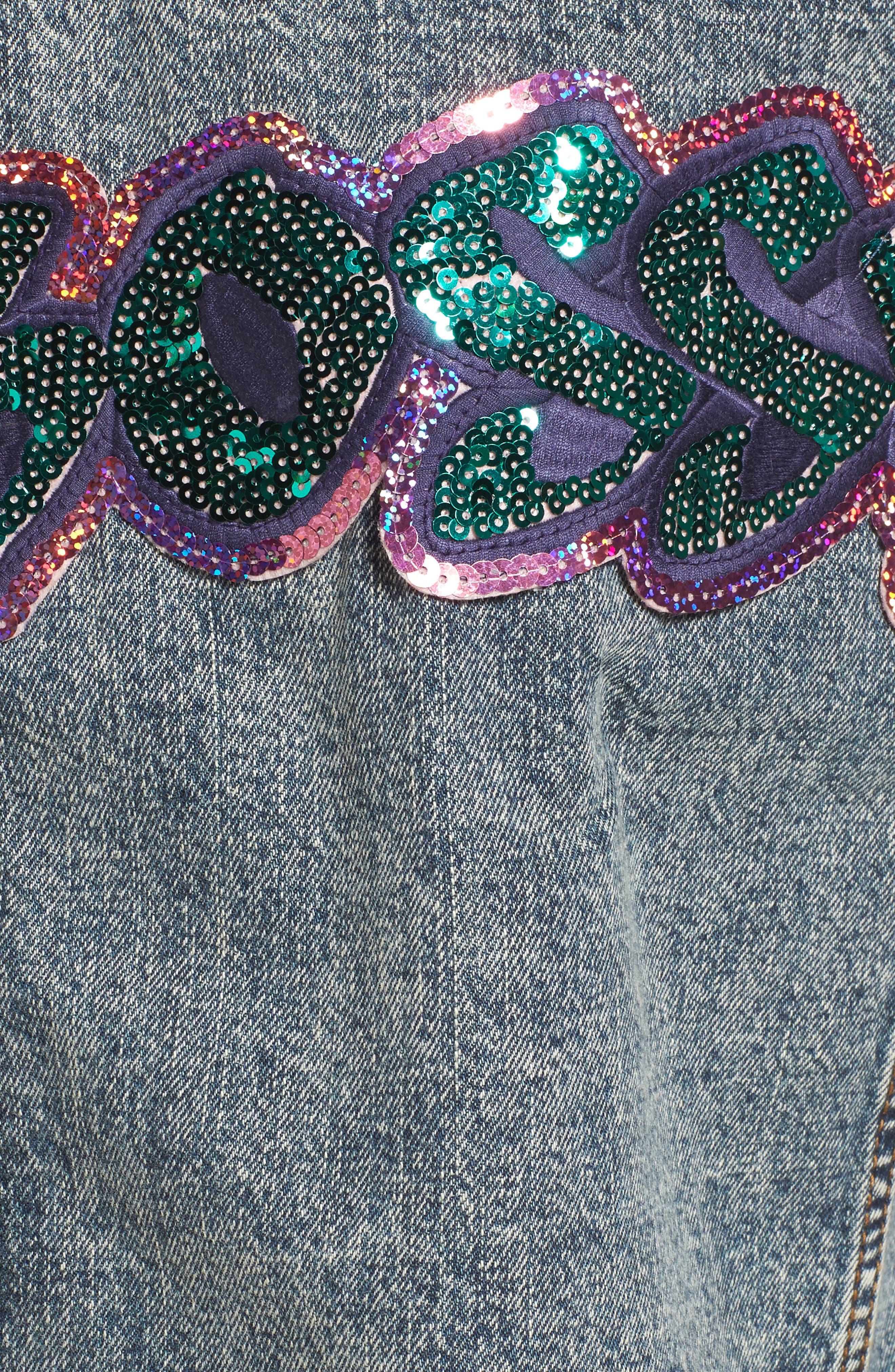 Bossy Embellished Denim Jacket,                             Alternate thumbnail 6, color,                             420