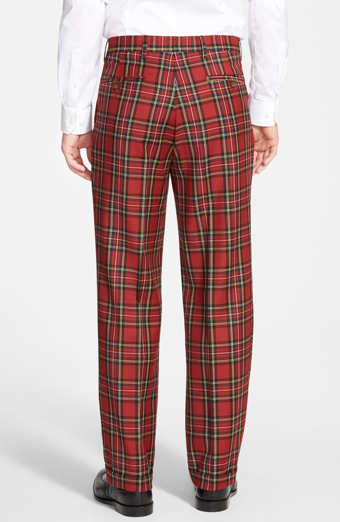 Pleated Plaid Wool Trousers,                             Alternate thumbnail 3, color,                             RED