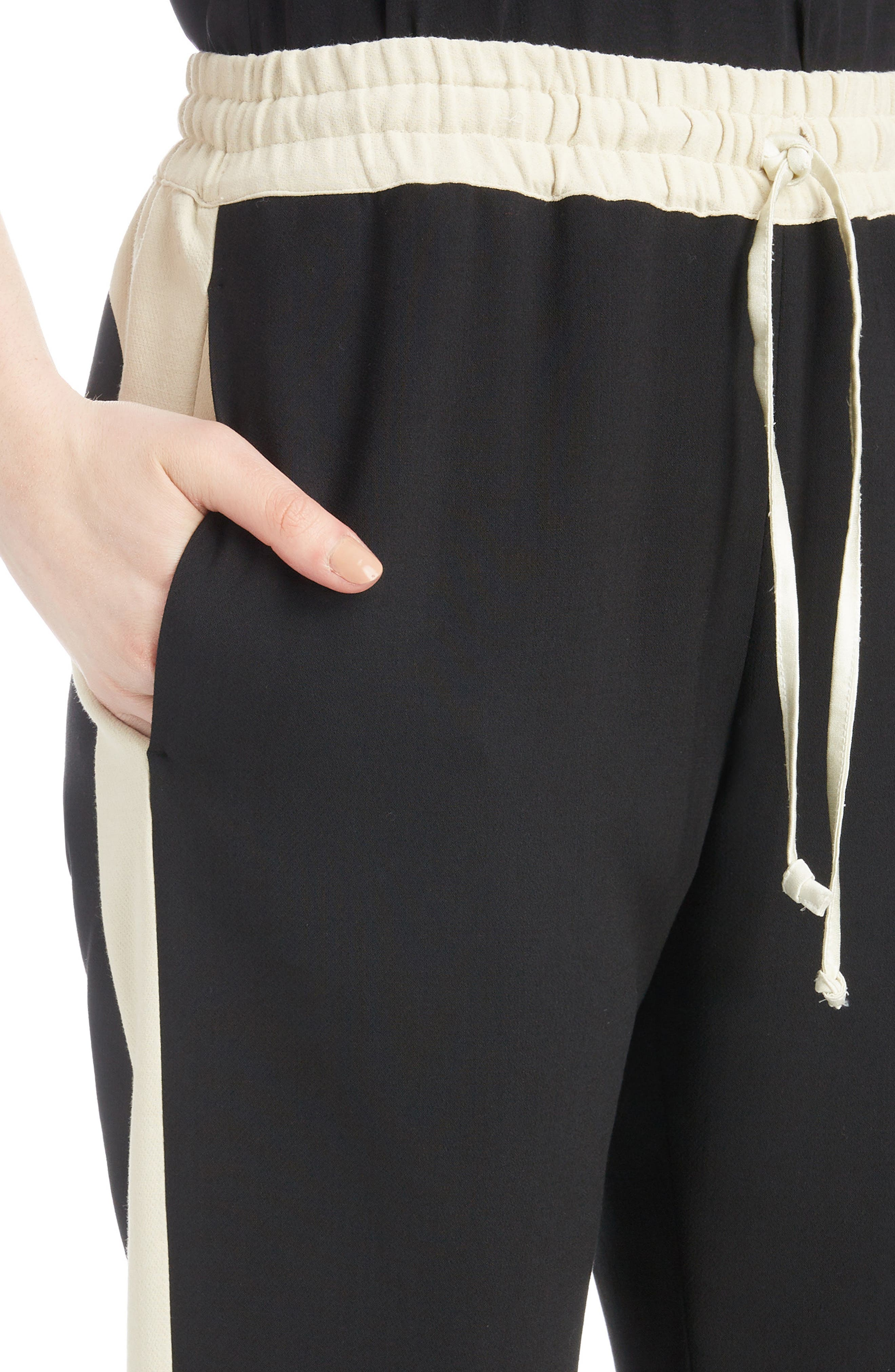 Contrast Stripe Track Pants,                             Alternate thumbnail 4, color,                             BLACK