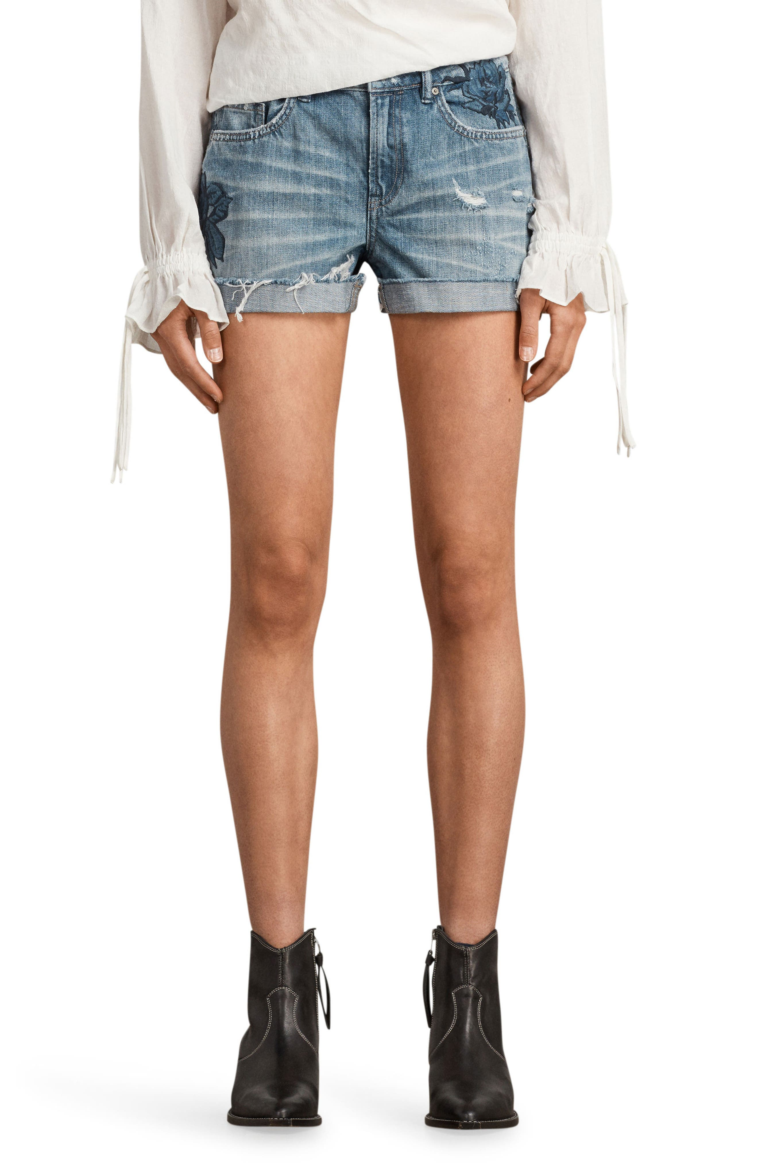 Pam Rose Embroidered Denim Shorts,                         Main,                         color, 460