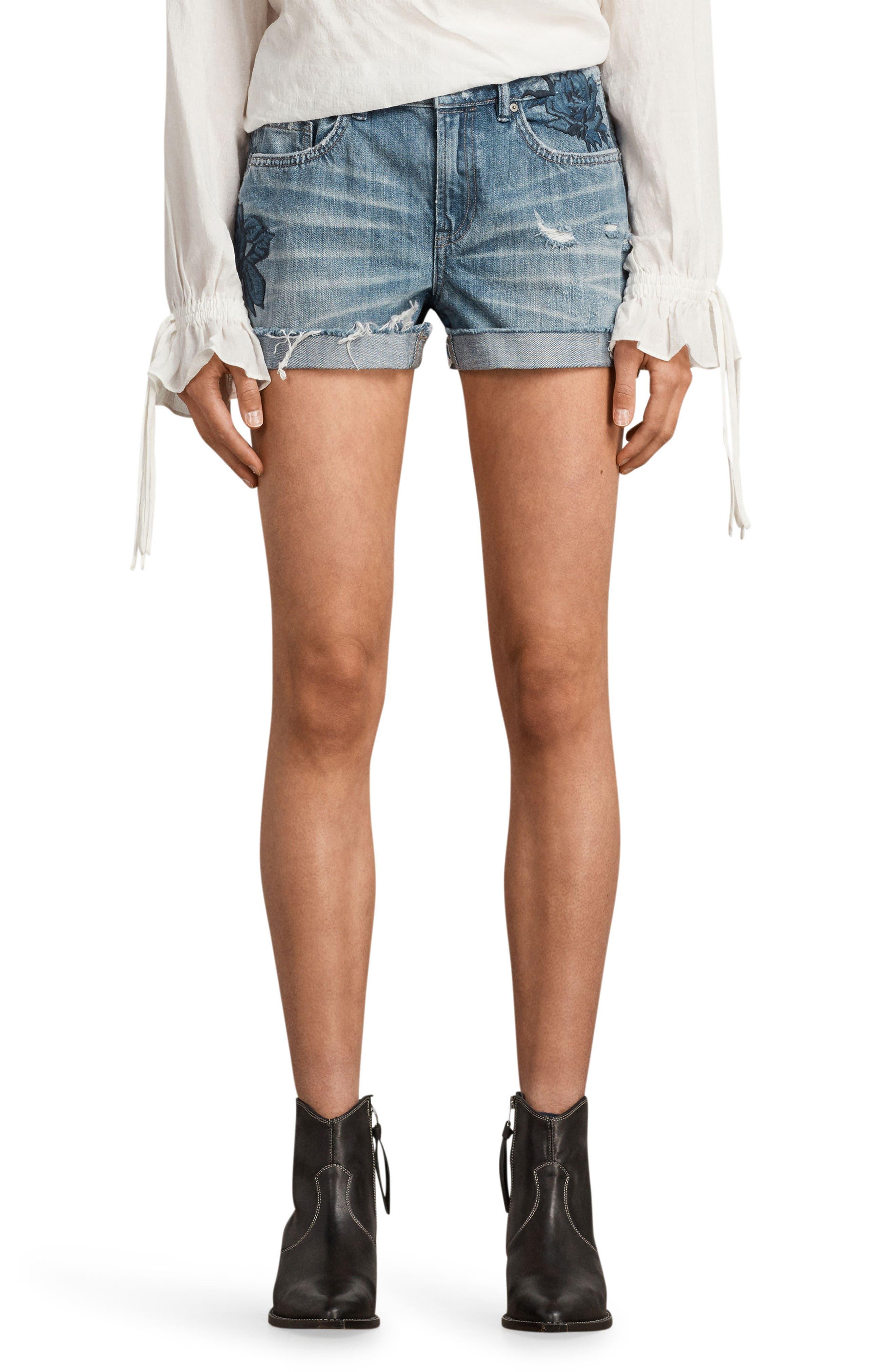 ALLSAINTS Pam Rose Embroidered Denim Shorts, Main, color, 460