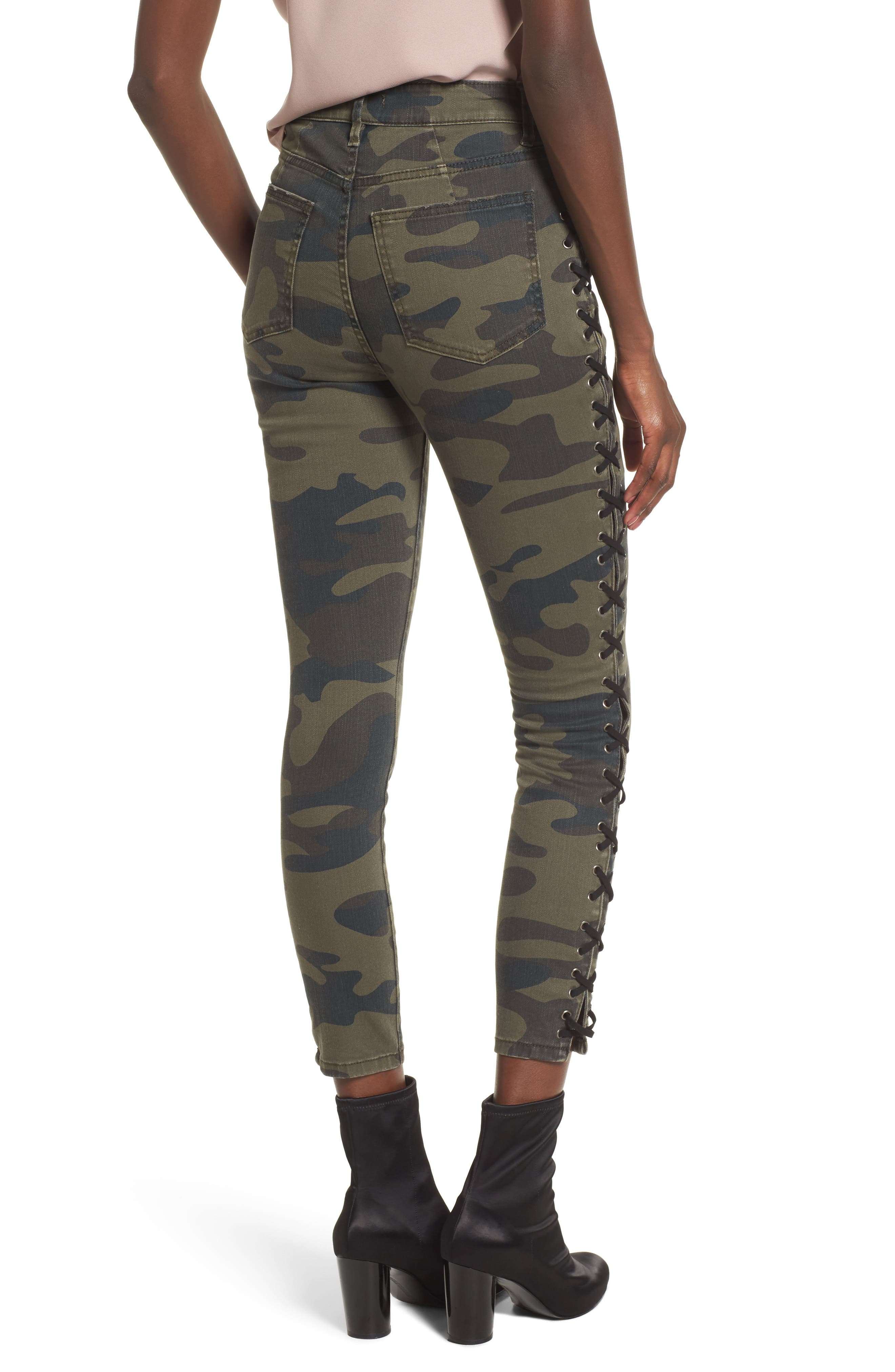 Lace Up Camo Crop Skinny Jeans,                             Alternate thumbnail 2, color,                             300