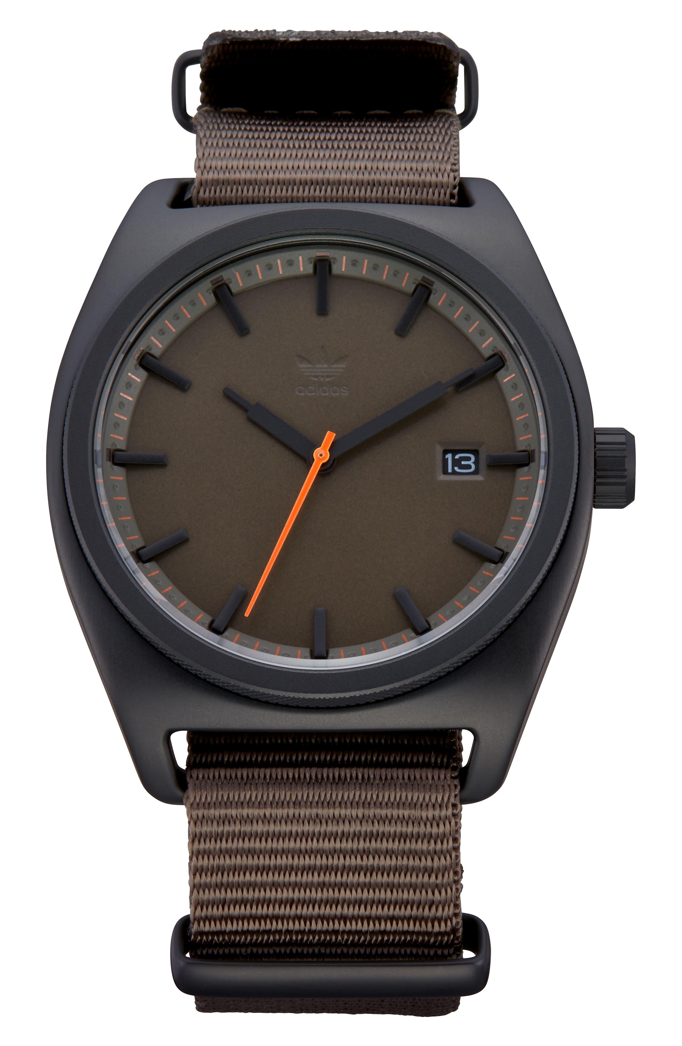 Process Nylon Strap Watch, 40mm,                         Main,                         color, BROWN/ BRANCH/ BLACK