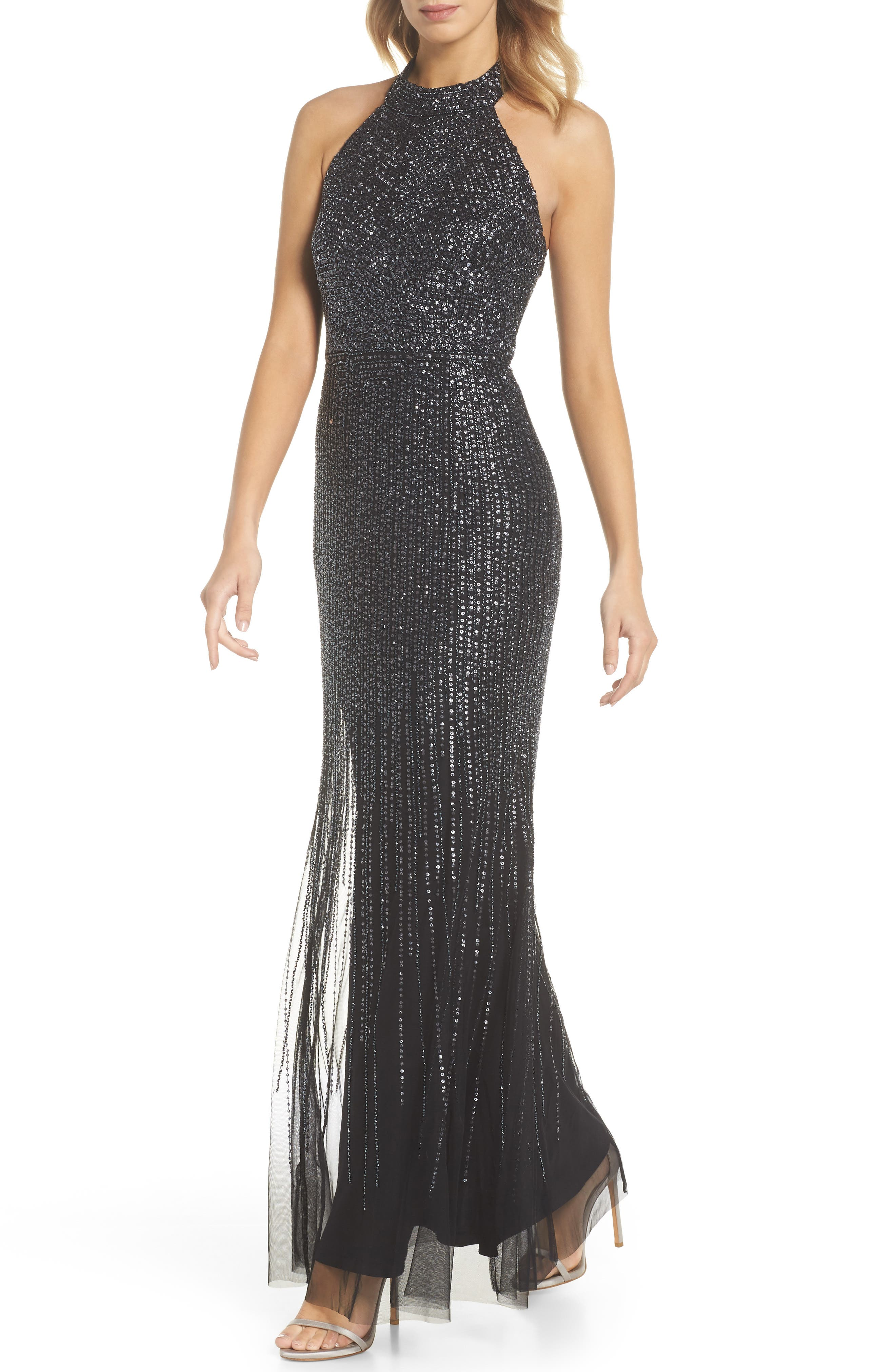 ADRIANNA PAPELL,                             Beaded Halter Gown,                             Main thumbnail 1, color,                             001