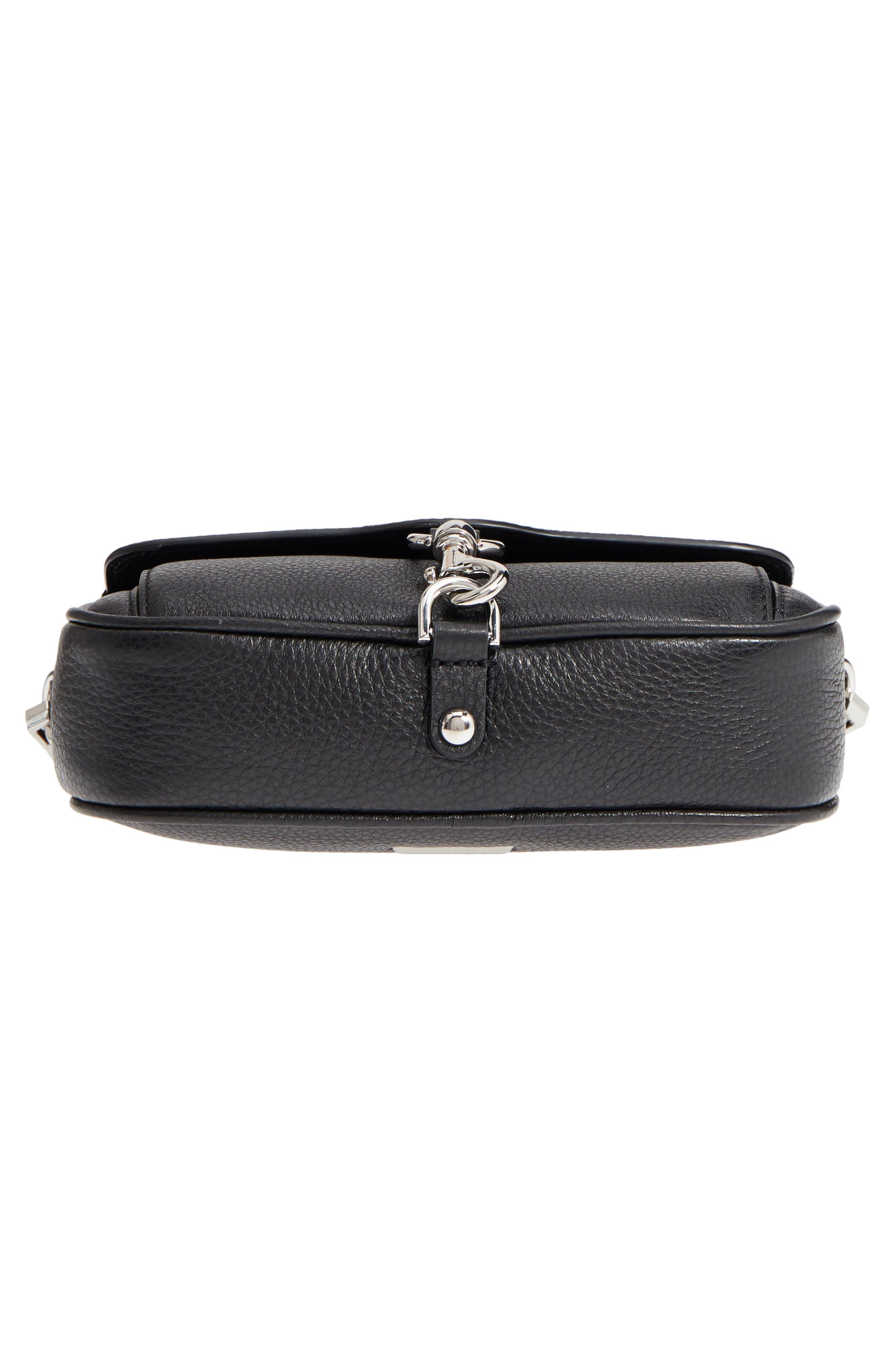 REBECCA MINKOFF,                             Blythe Leather Crossbody Bag,                             Alternate thumbnail 6, color,                             BLACK