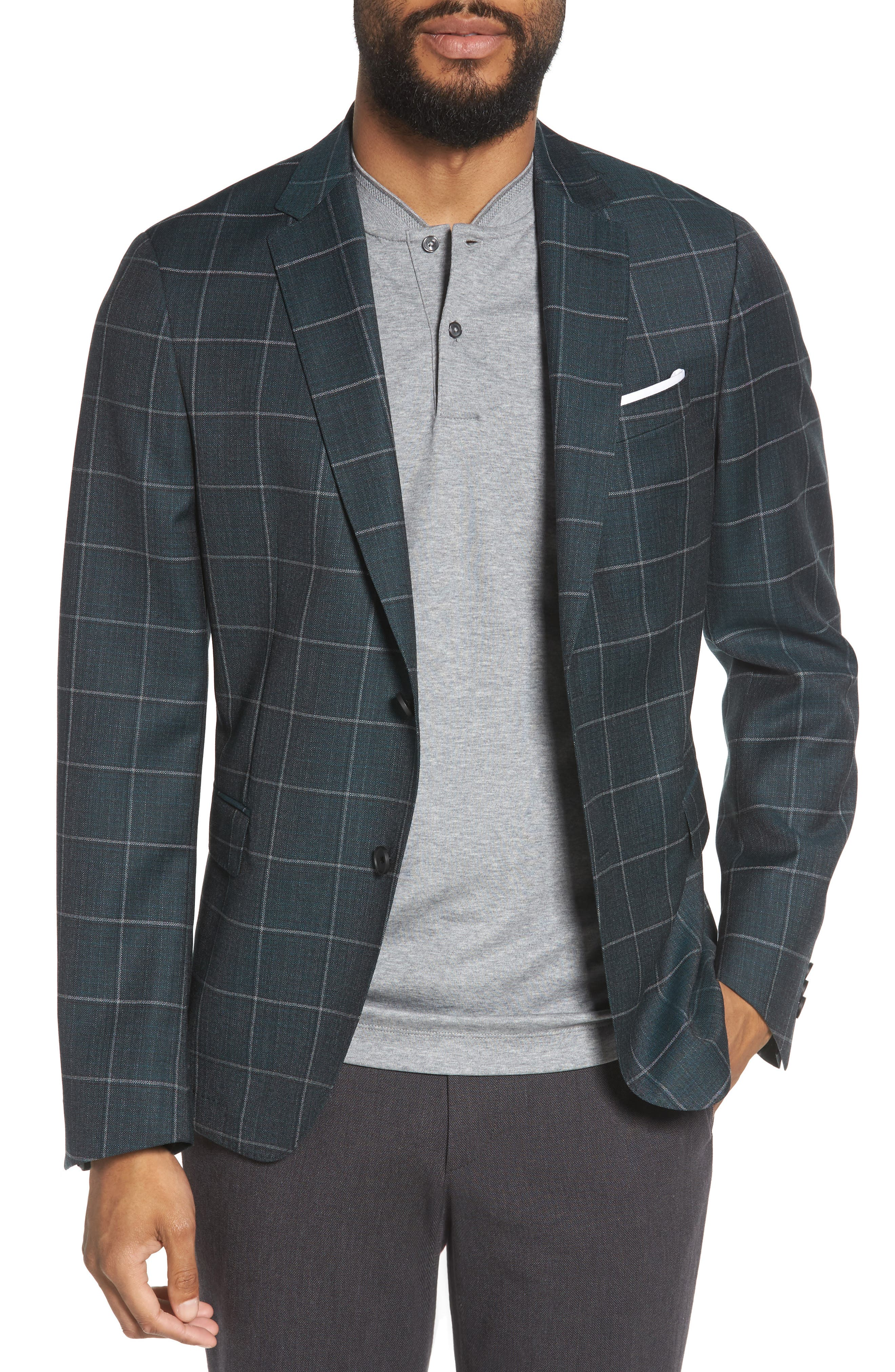 Nobis Trim Fit Windowpane Wool Sport Coat,                             Main thumbnail 1, color,                             MEDIUM GREEN