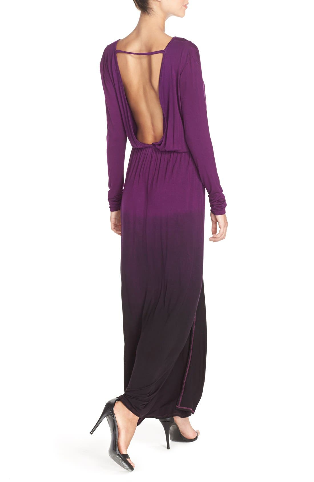 Tie Dye Faux Wrap Maxi Dress,                             Alternate thumbnail 3, color,                             PURPLE/ BLACK OMBRE