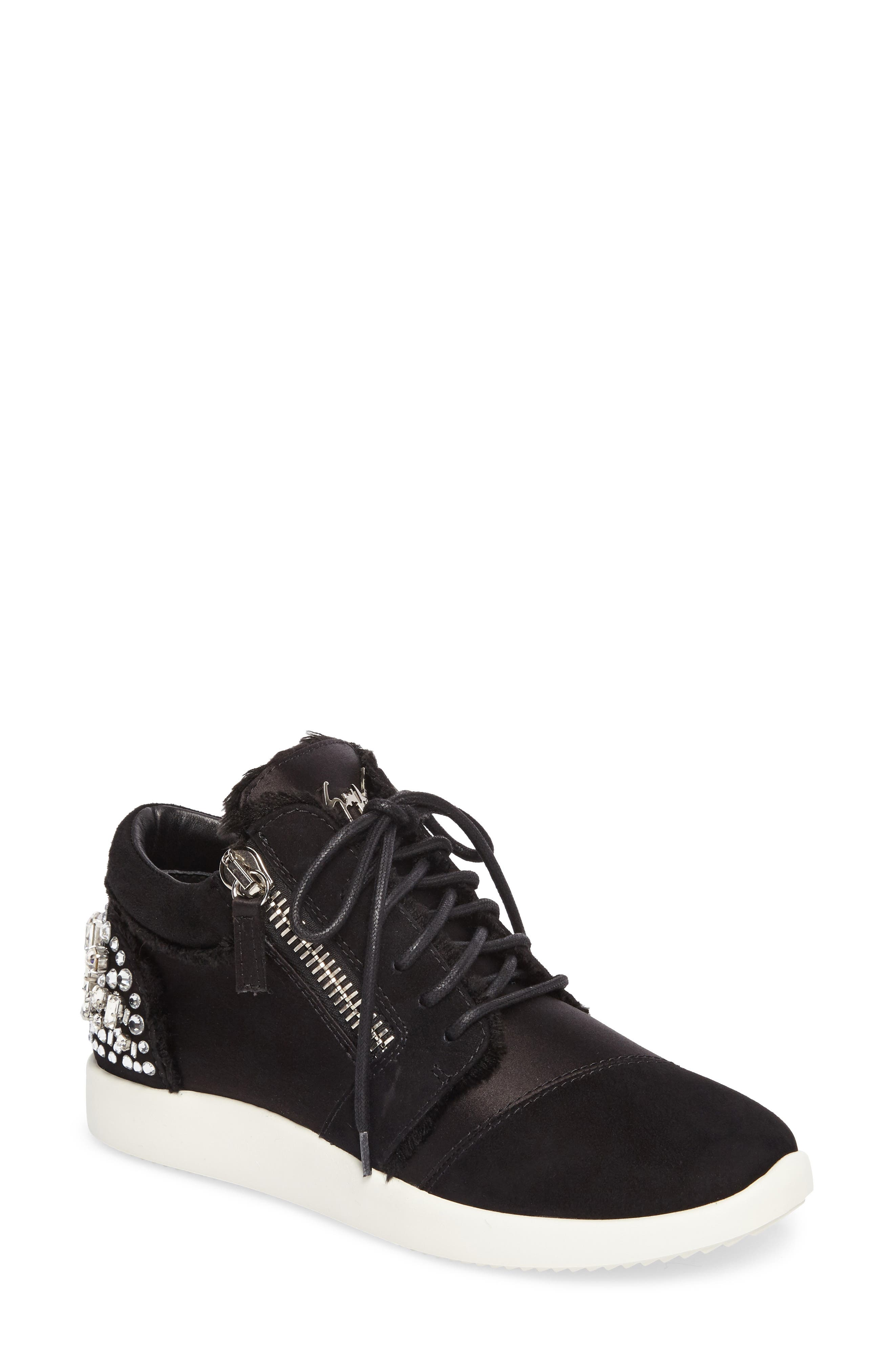 GIUSEPPE ZANOTTI,                             Swarovski Crystal Embellished Sneaker,                             Main thumbnail 1, color,                             001