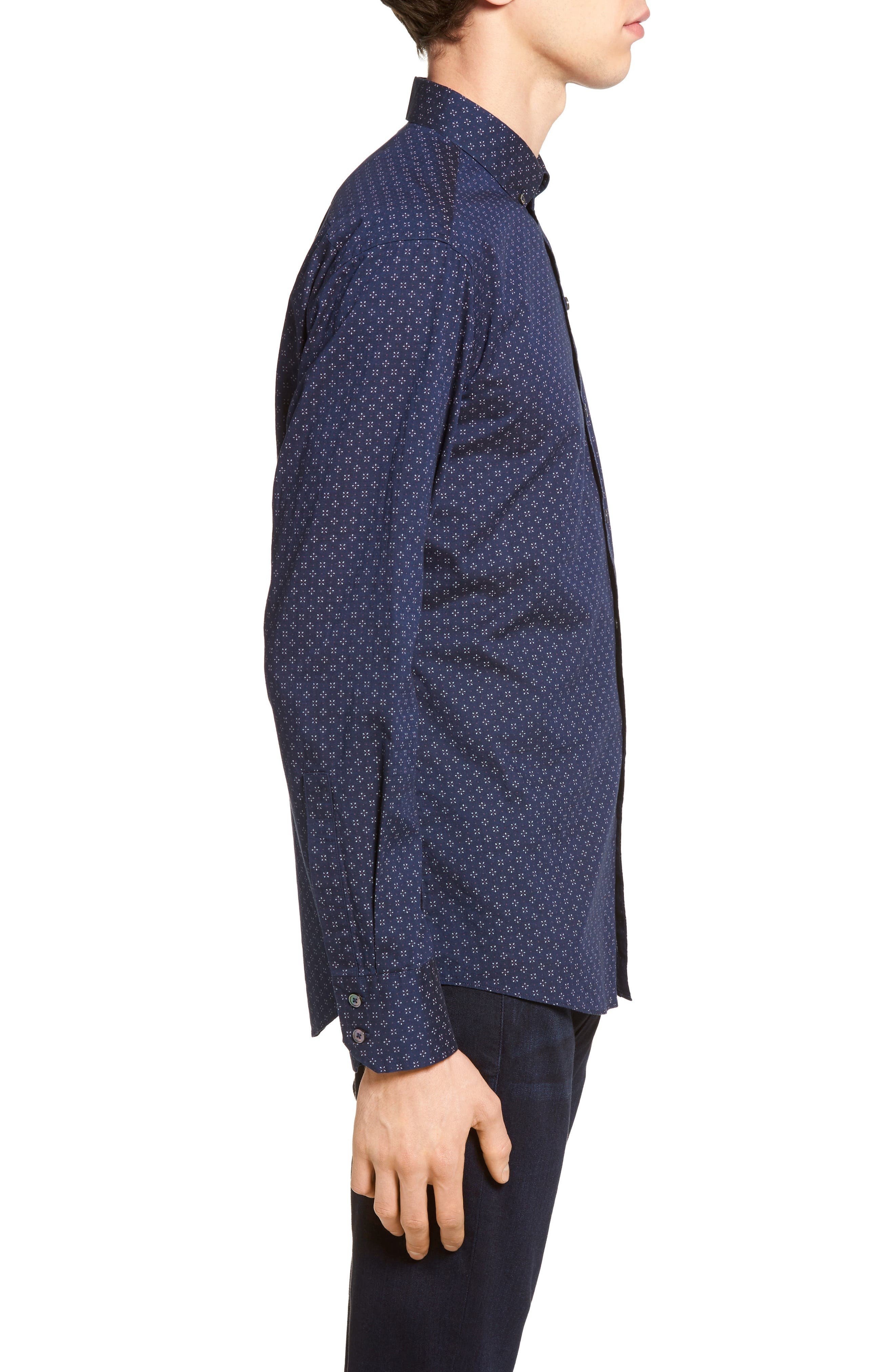 Kinnear Slim Fit Print Shirt,                             Alternate thumbnail 3, color,