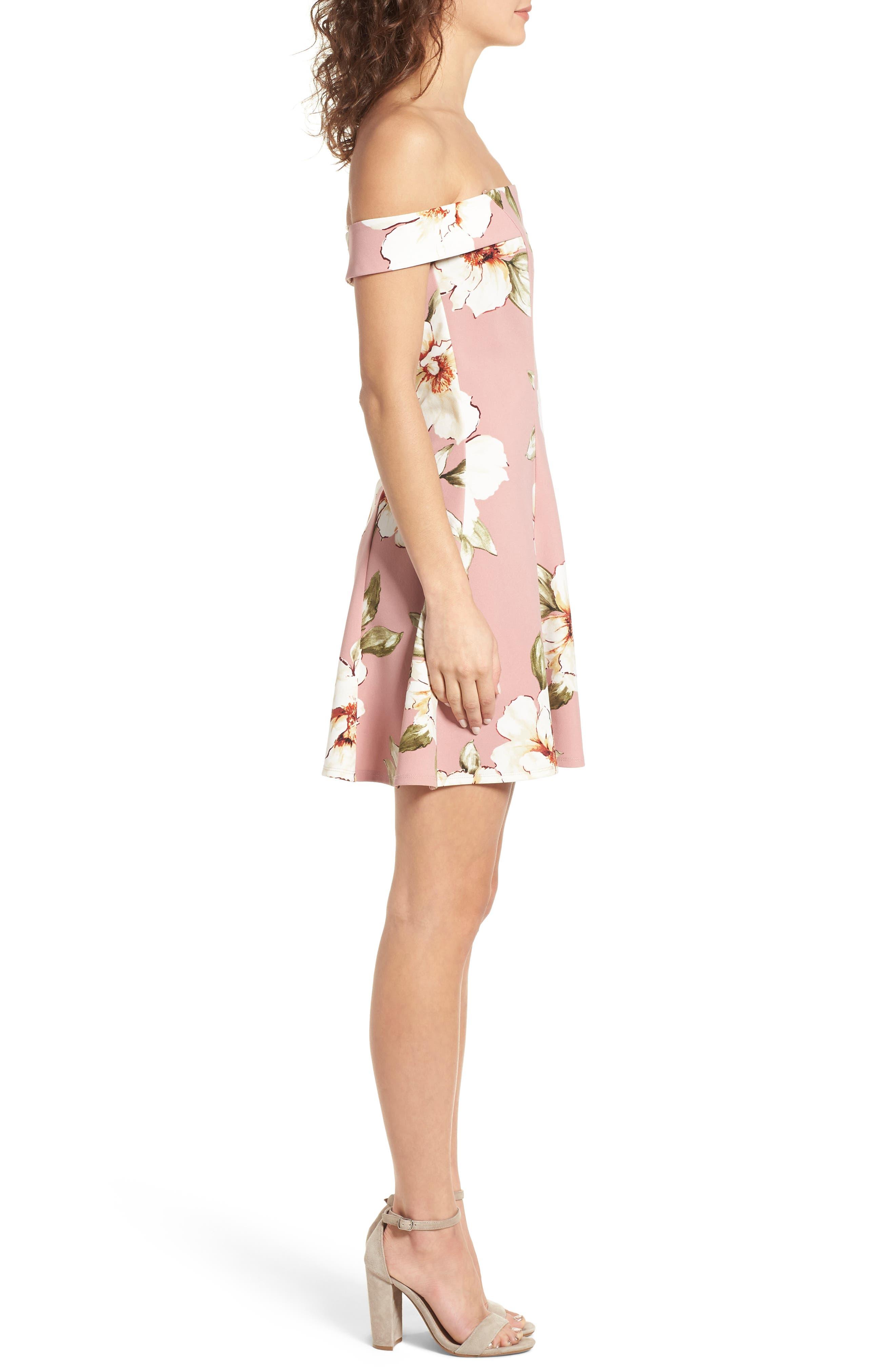 Floral Print Off the Shoulder A-Line Dress,                             Alternate thumbnail 3, color,