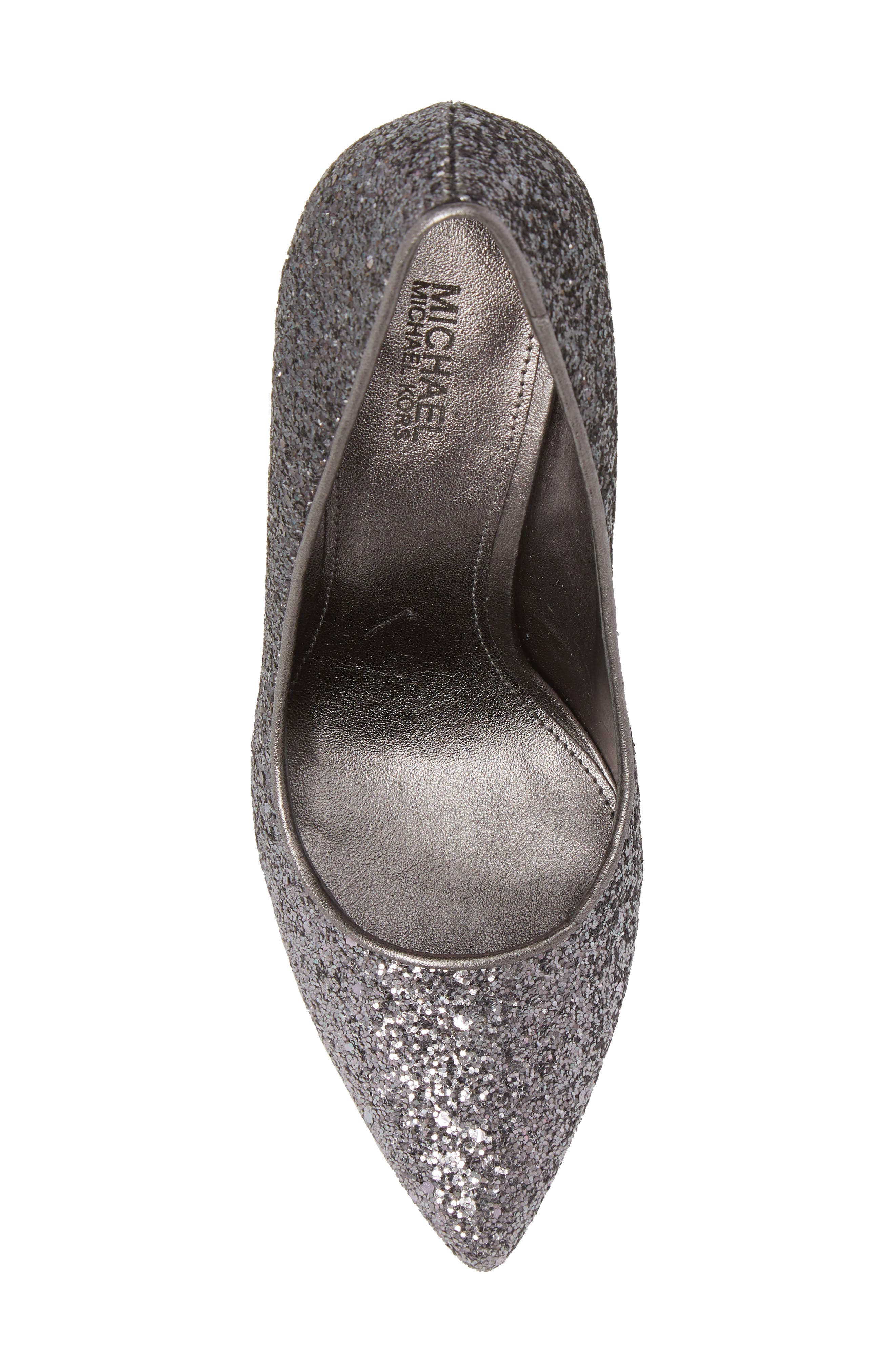 Claire Pointy Toe Pump,                             Alternate thumbnail 5, color,                             GUNMETAL GLITTER FABRIC