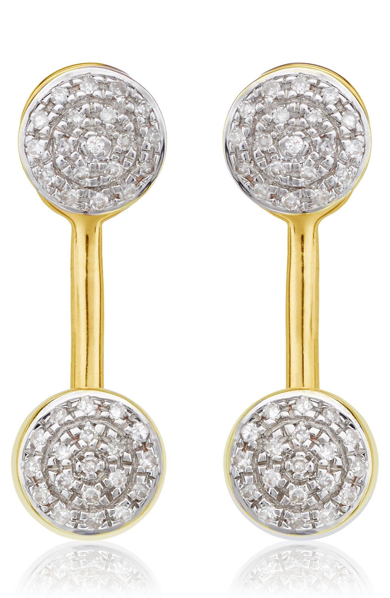 Fiji Diamond Button Ear Jackets,                             Main thumbnail 1, color,                             GOLD