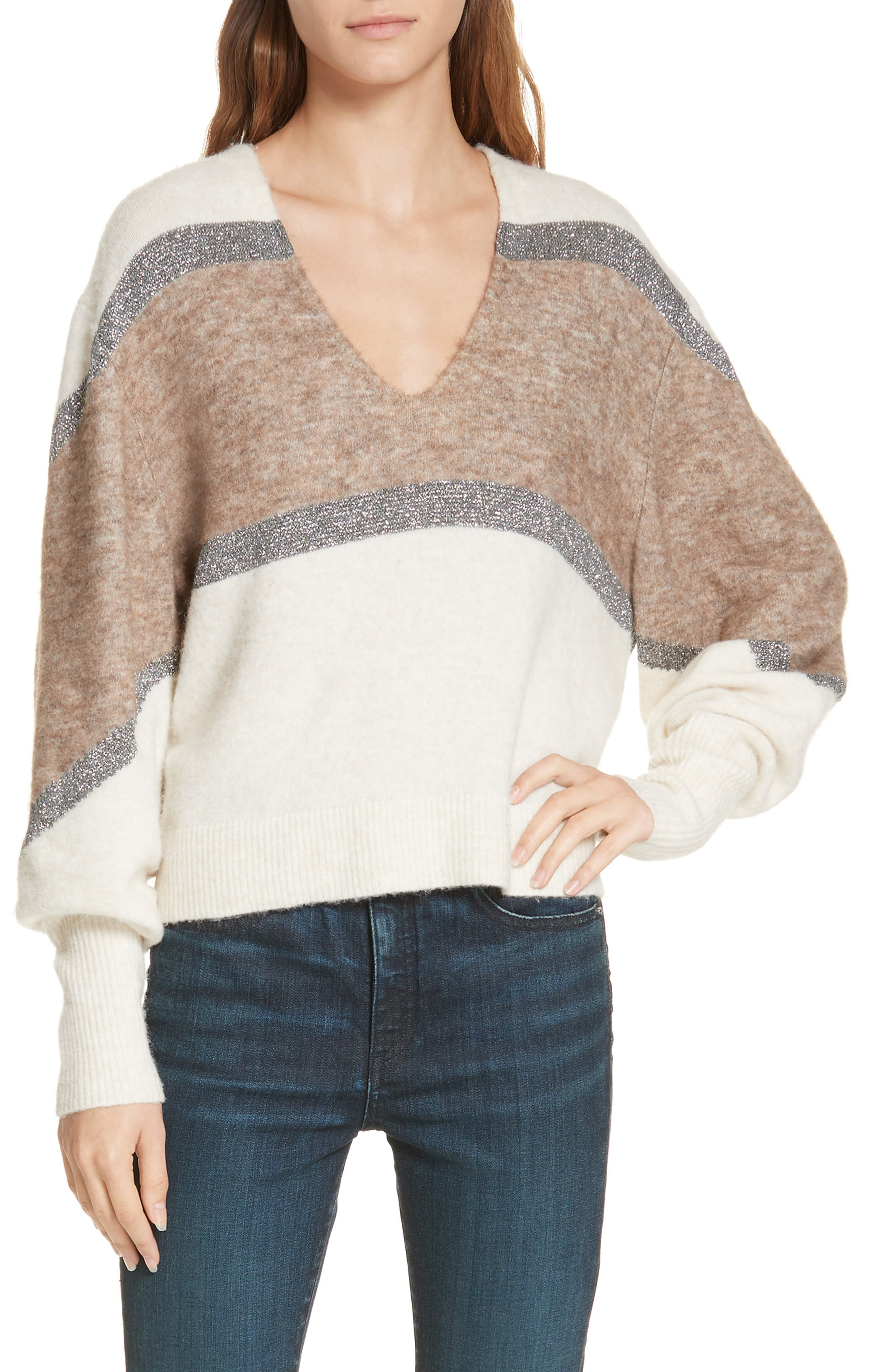Miley Stripe Sweater,                             Main thumbnail 1, color,                             IVORY MULTI