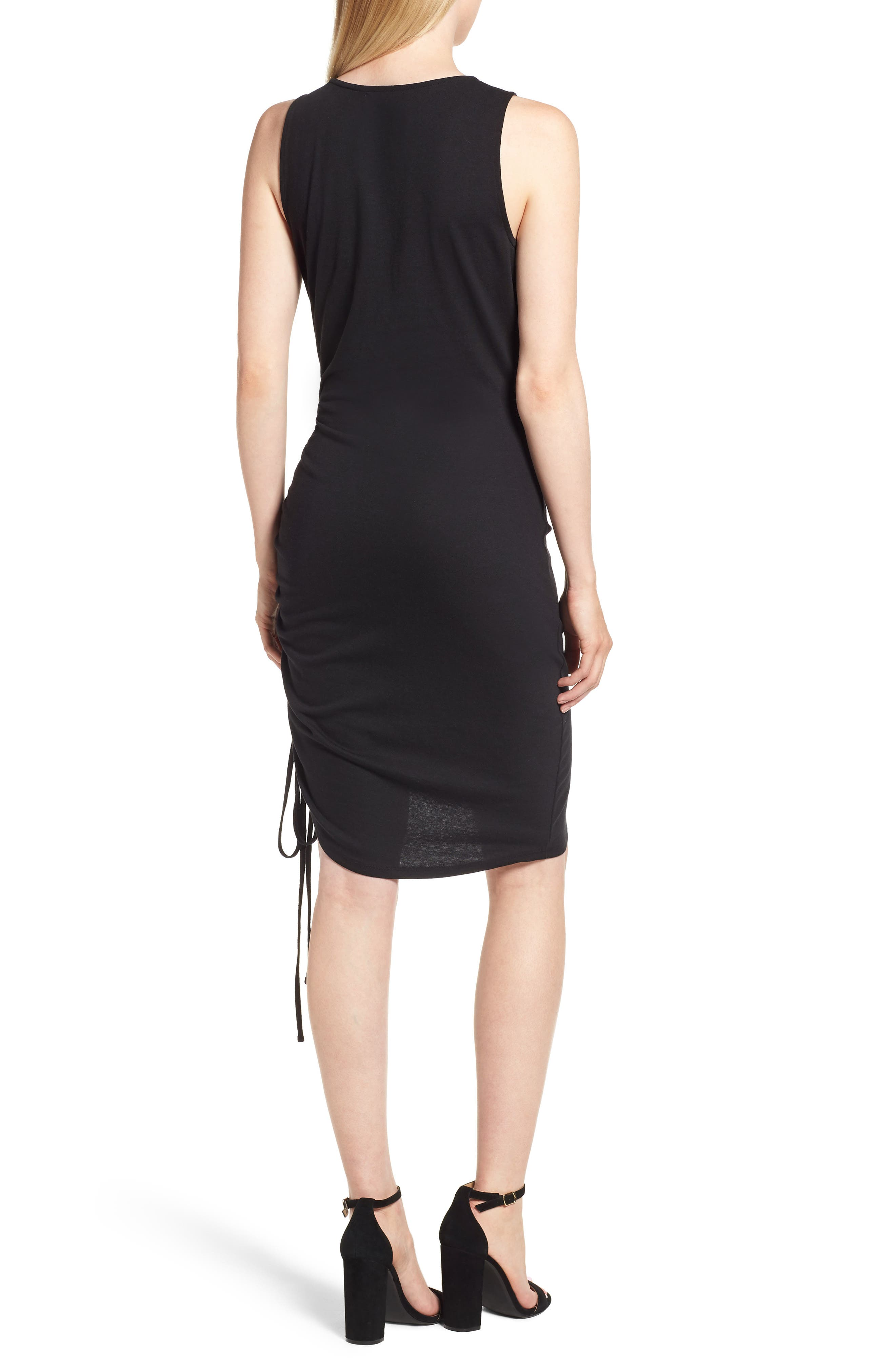 Side Shirred Body-Con Dress,                             Alternate thumbnail 2, color,                             001