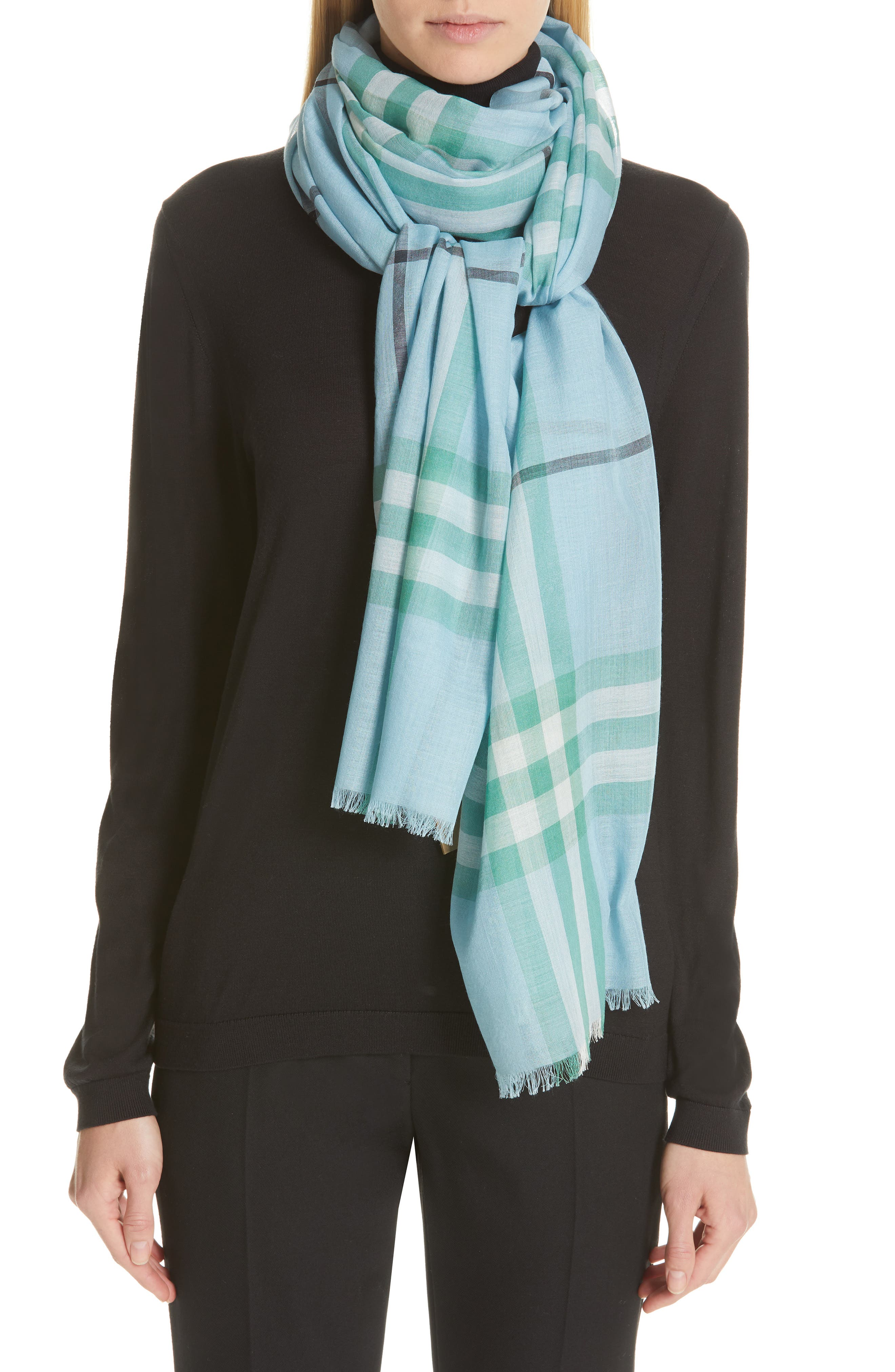 Giant Check Gauze Wool & Silk Scarf,                             Main thumbnail 1, color,                             PALE PERIDOT BLUE