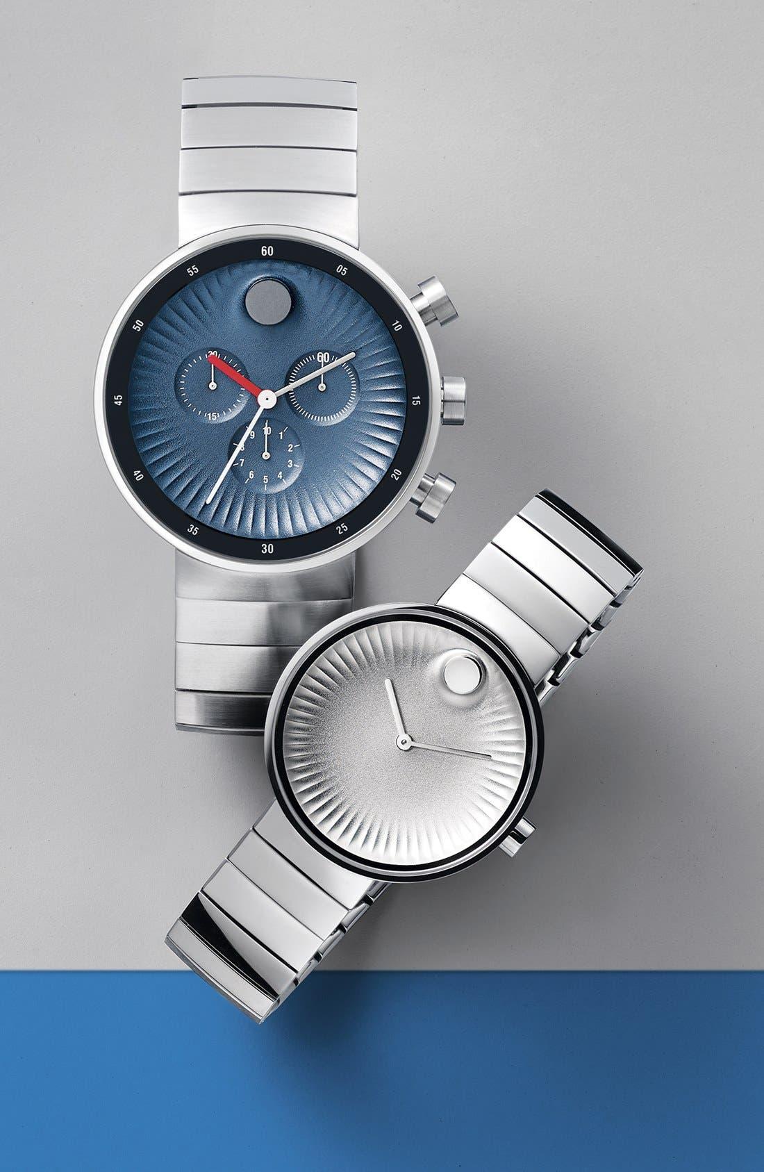 'Edge' Bracelet Watch, 42mm,                             Alternate thumbnail 3, color,                             SILVER/ BLUE