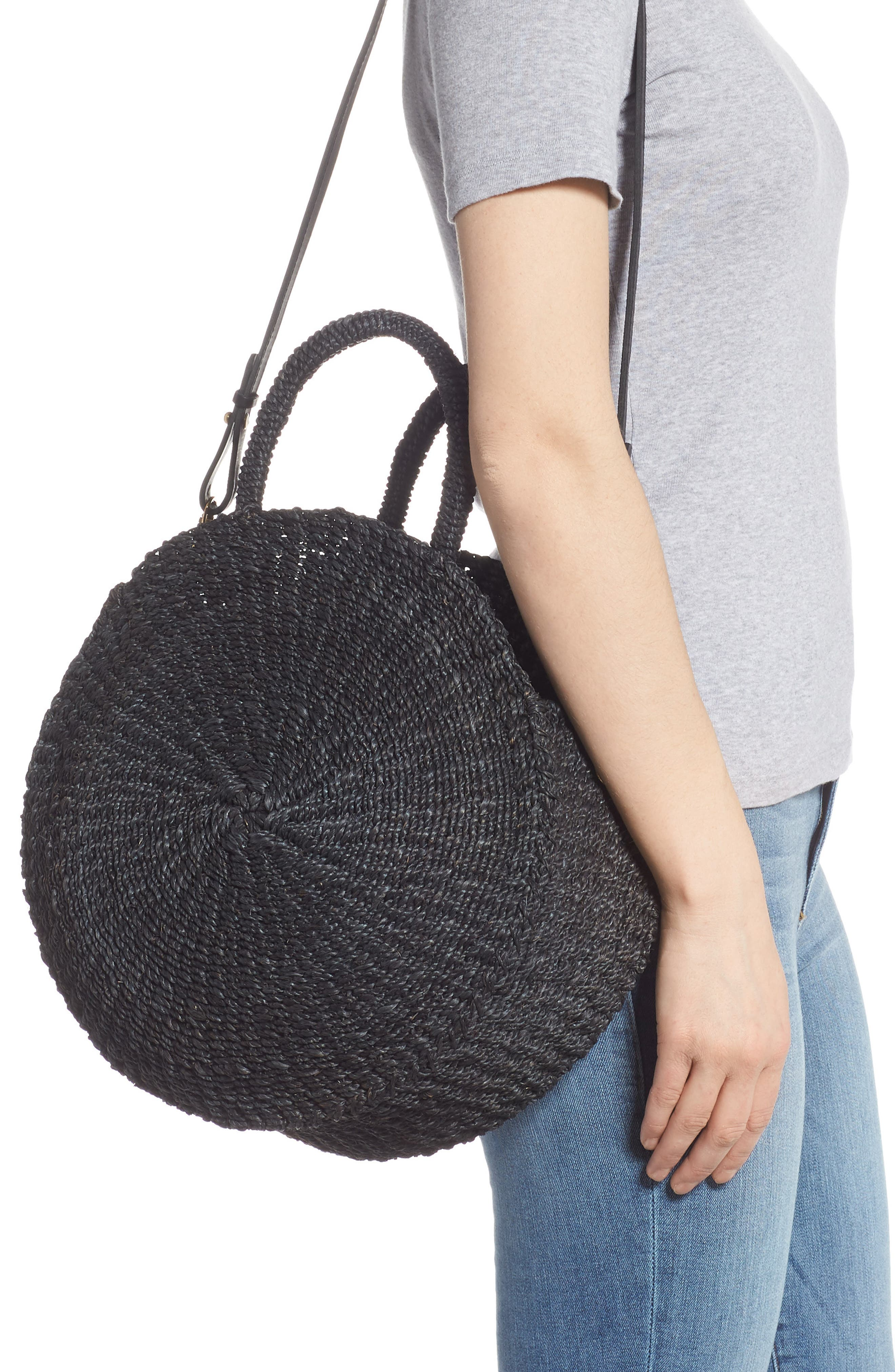 Alice Woven Sisal Straw Bag,                             Alternate thumbnail 2, color,                             BLACK