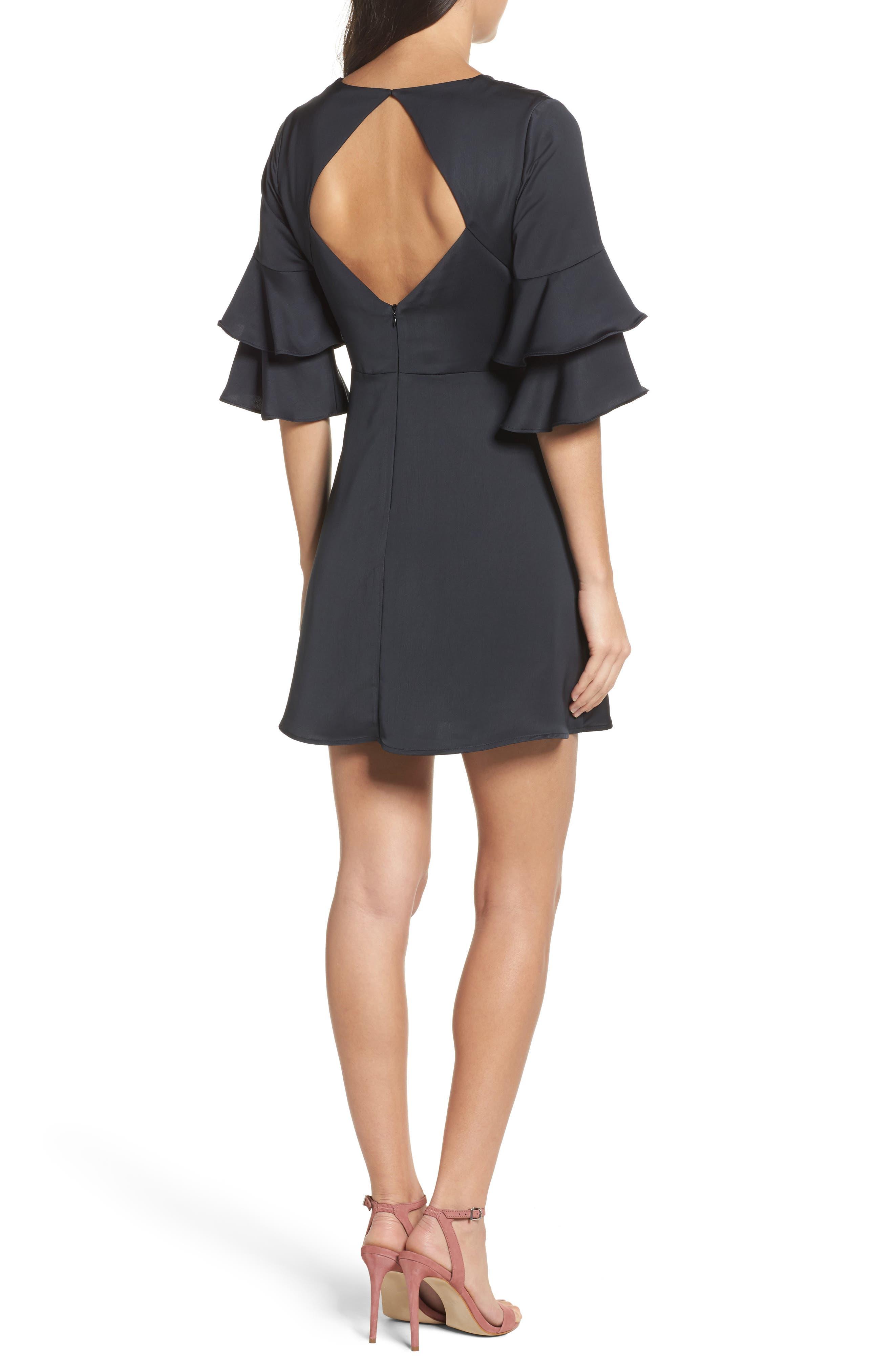 Ruffle Sleeve Satin Dress,                             Alternate thumbnail 2, color,                             001