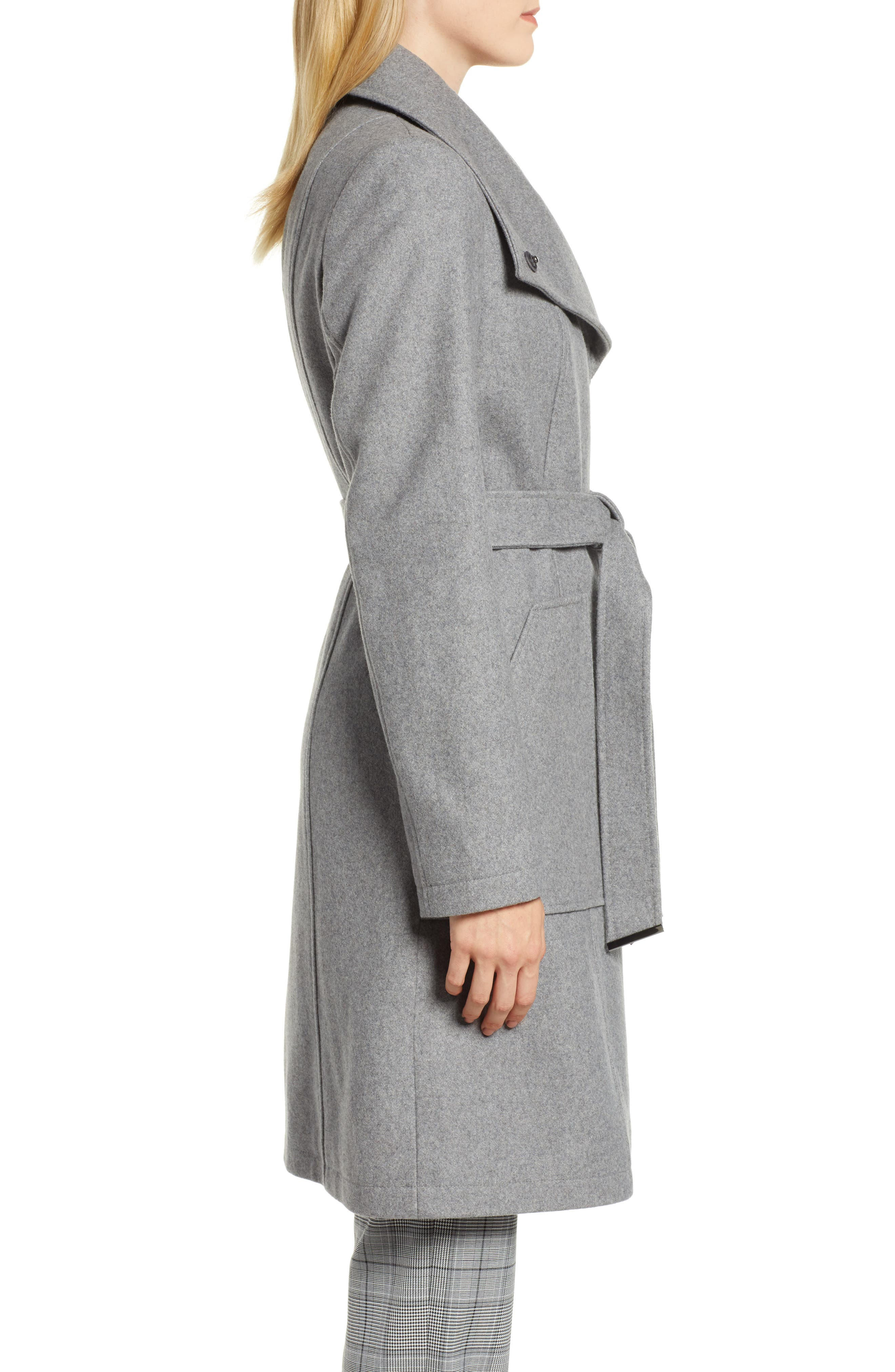 Belted Wool Blend Coat,                             Alternate thumbnail 3, color,                             GREY