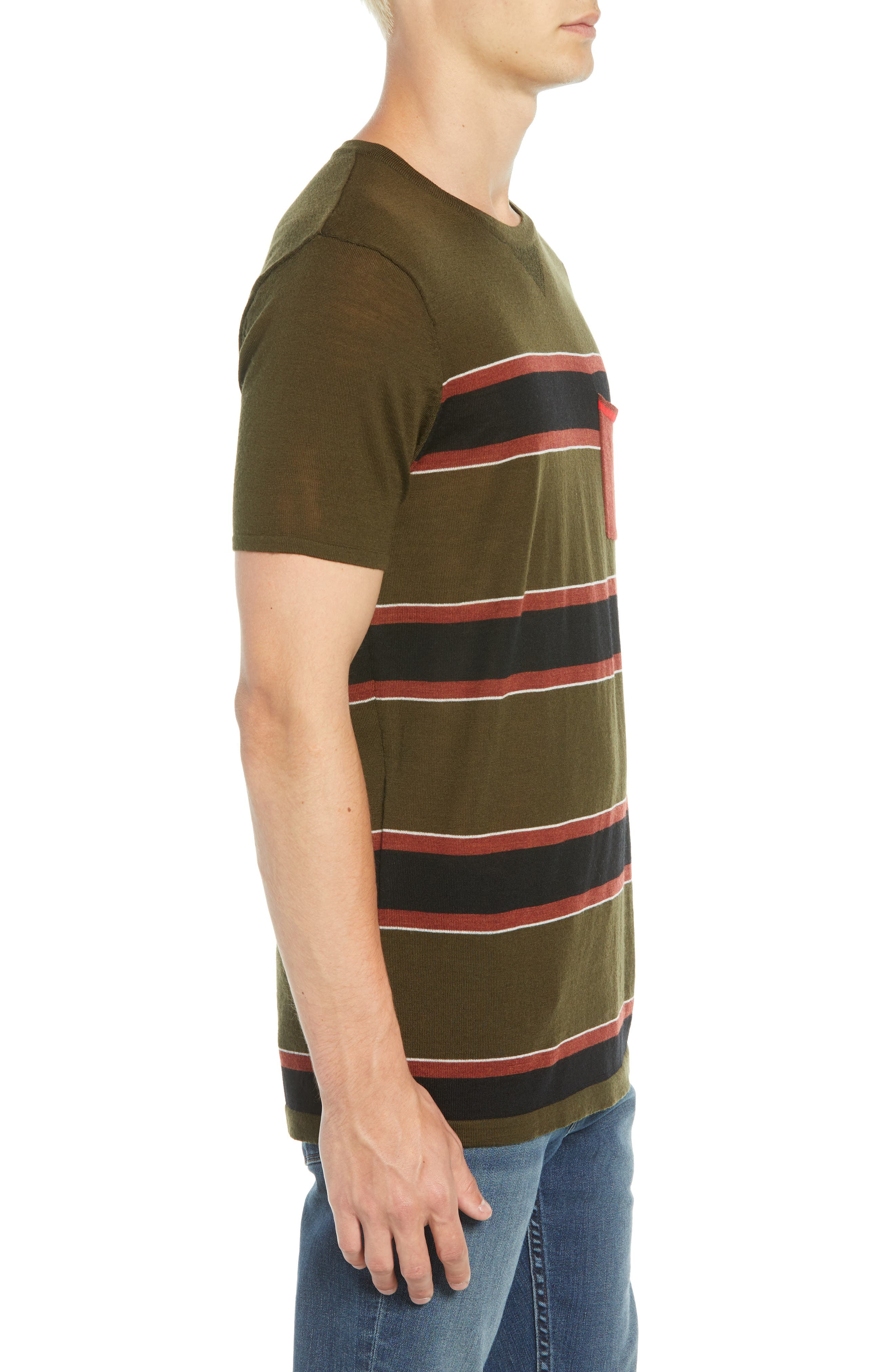 Stripe Merino Wool Pocket T-Shirt,                             Alternate thumbnail 3, color,                             COMBO B