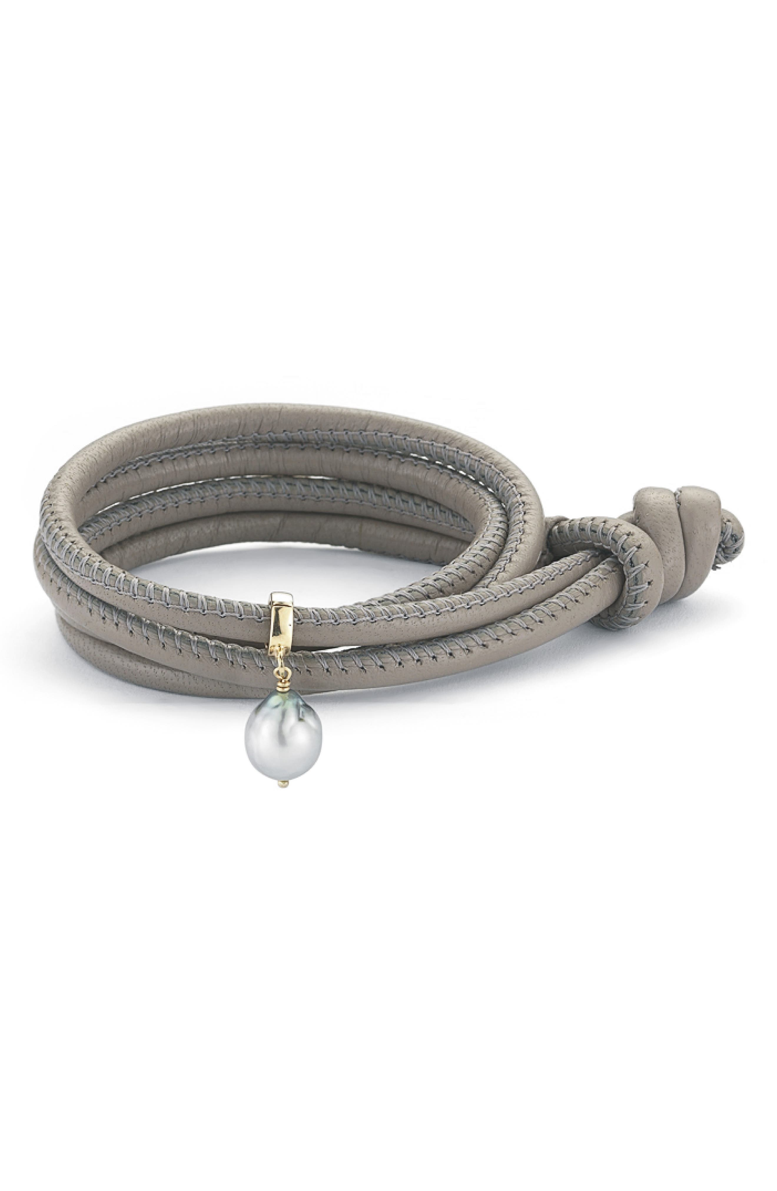 Leather & Freshwater Pearl Convertible Choker,                             Main thumbnail 1, color,                             TAUPE LEATHER