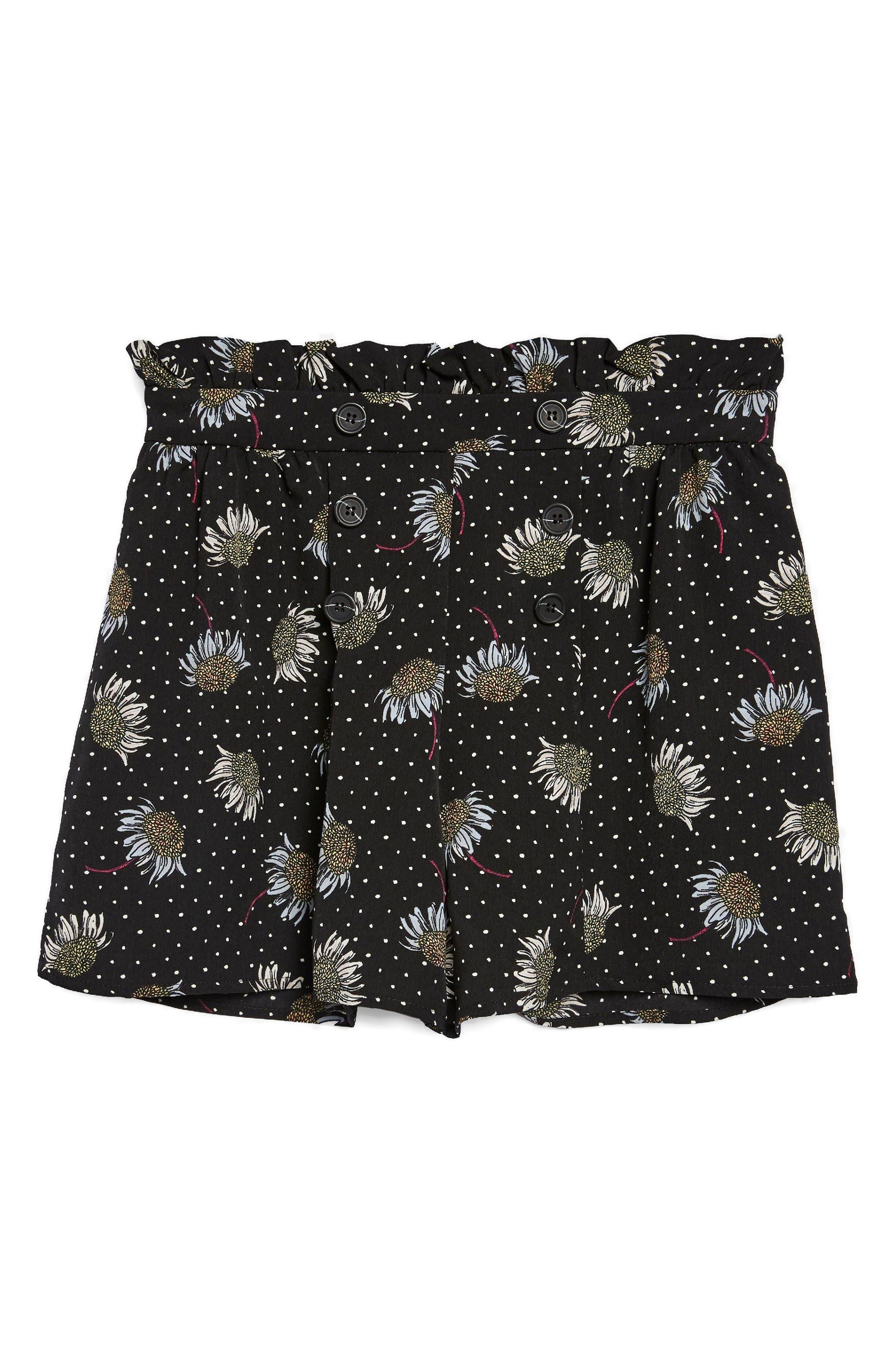 Daisy Print Frill Waist Shorts,                             Alternate thumbnail 3, color,                             001