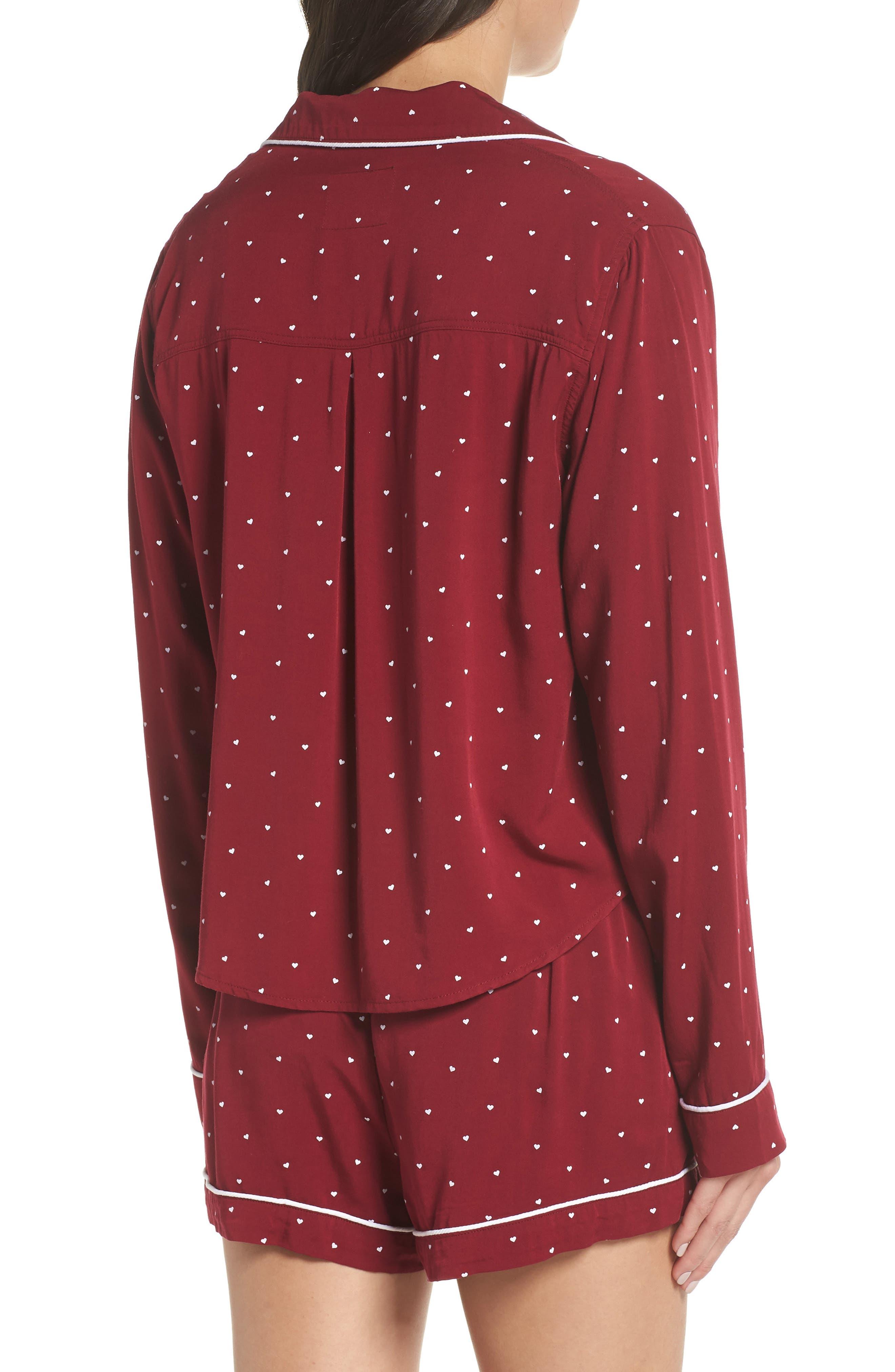 Short Pajamas,                             Alternate thumbnail 2, color,                             WHITE RED MINI HEARTS