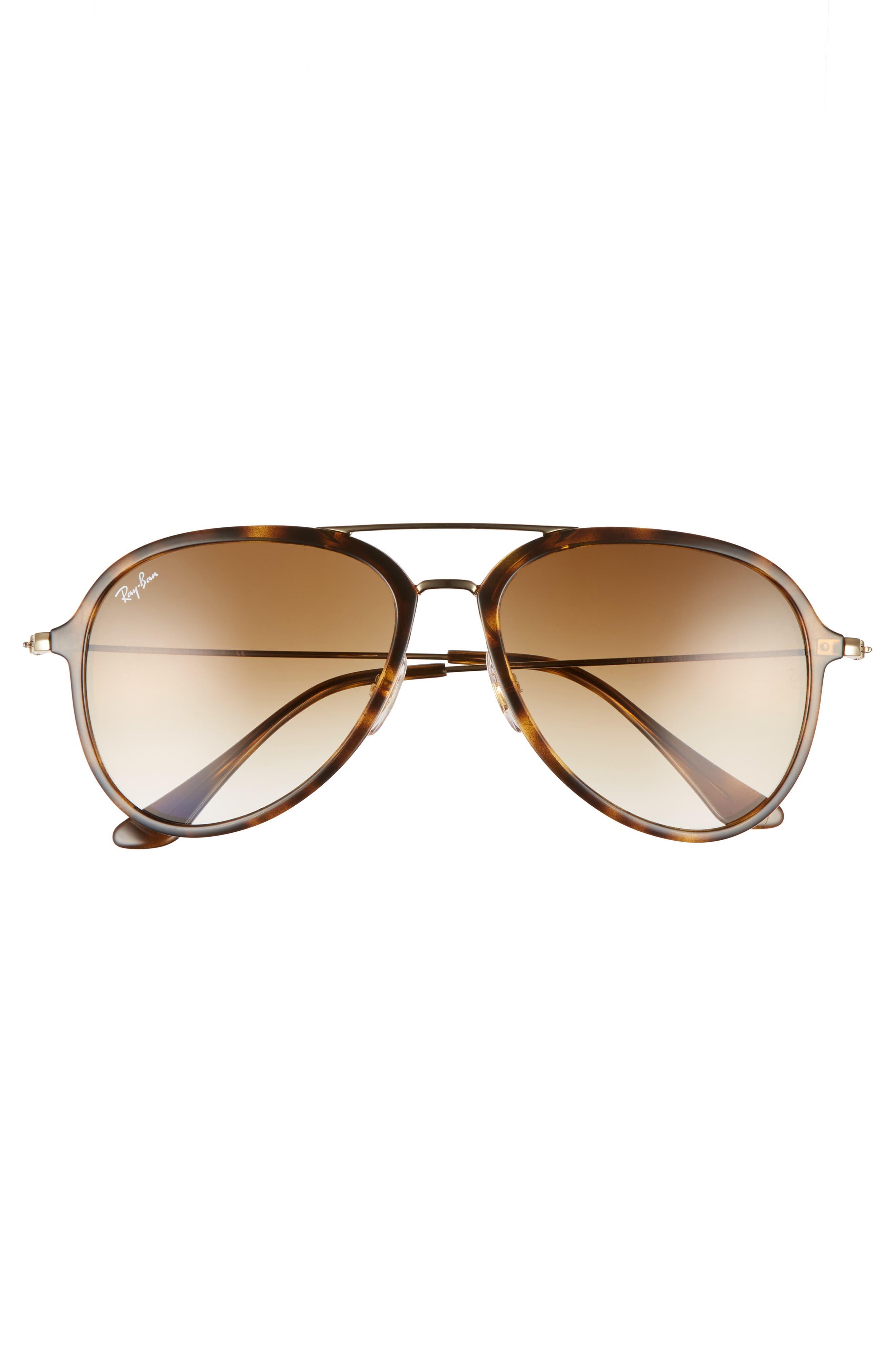 57mm Pilot Sunglasses,                             Alternate thumbnail 3, color,                             LIGHT HAVANA