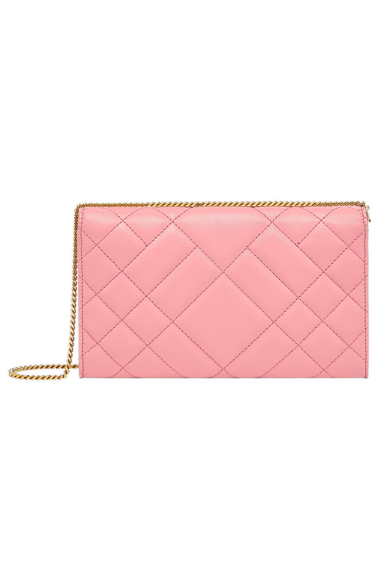 Quilted Leather Wallet on a Chain,                             Alternate thumbnail 3, color,                             SHELL PINK/ TRIBUTE GOLD