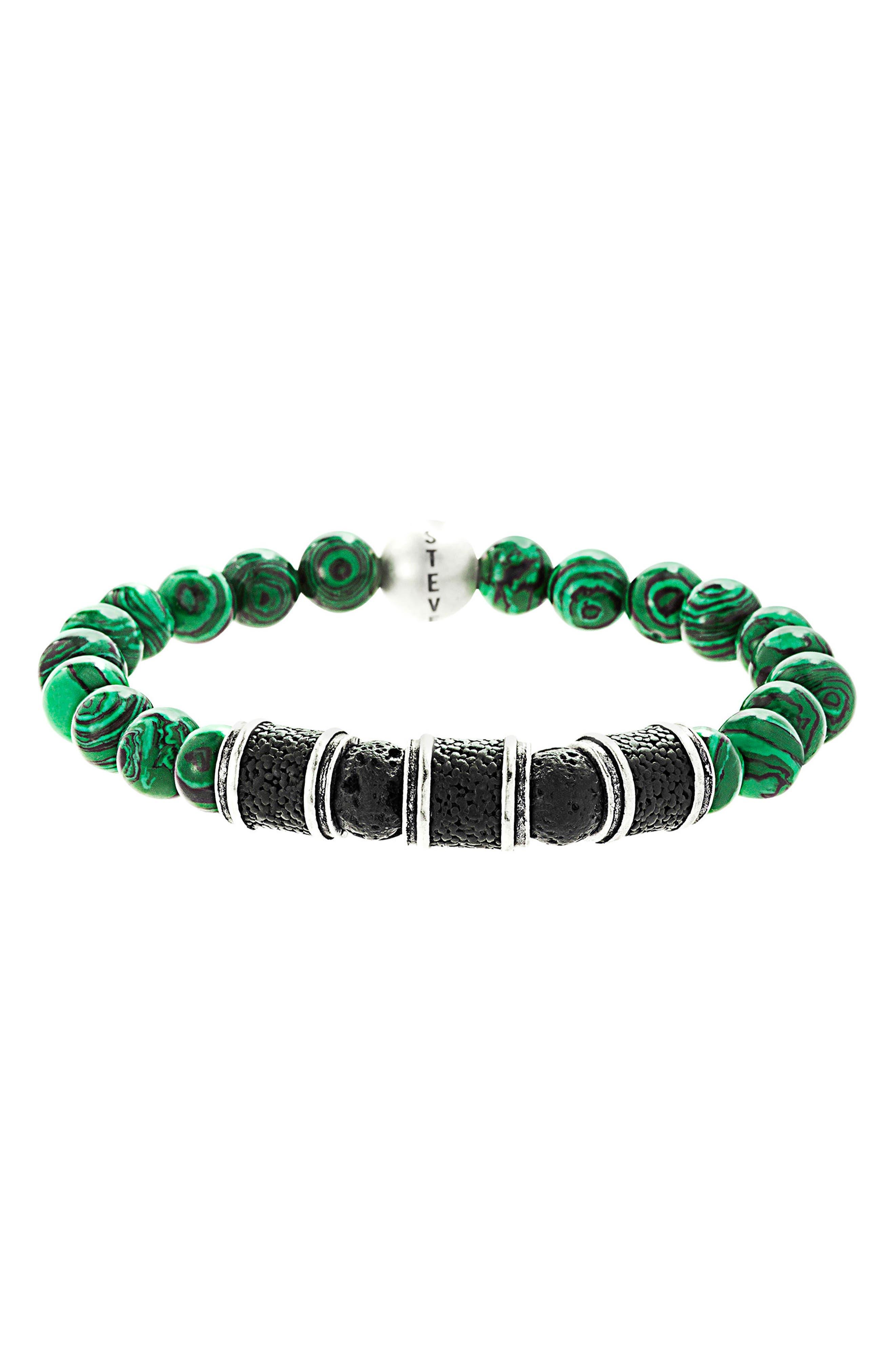 Malachite Bead Bracelet,                             Main thumbnail 1, color,                             300