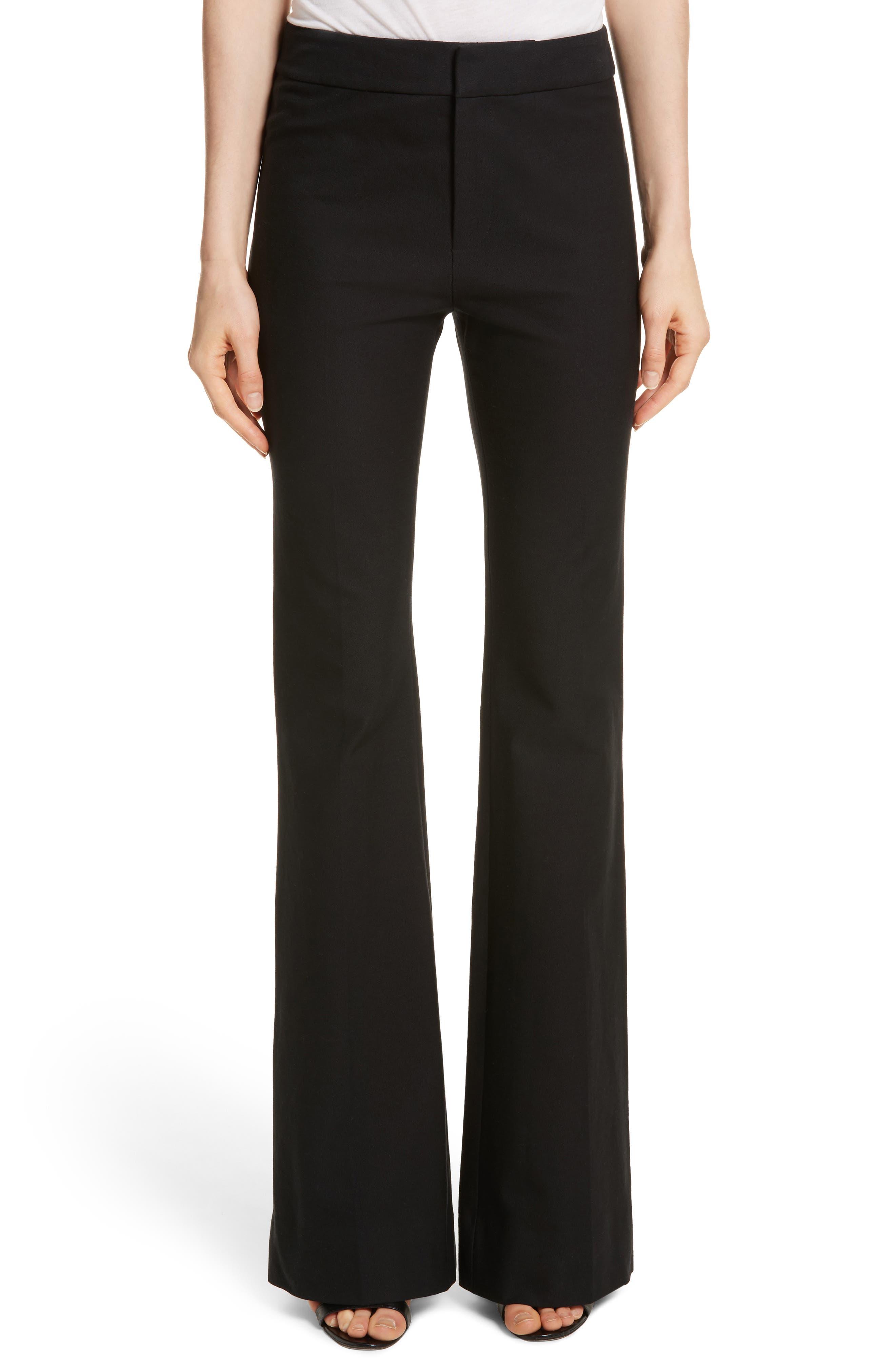 Flare Leg Stretch Cotton Pants, Main, color, 001