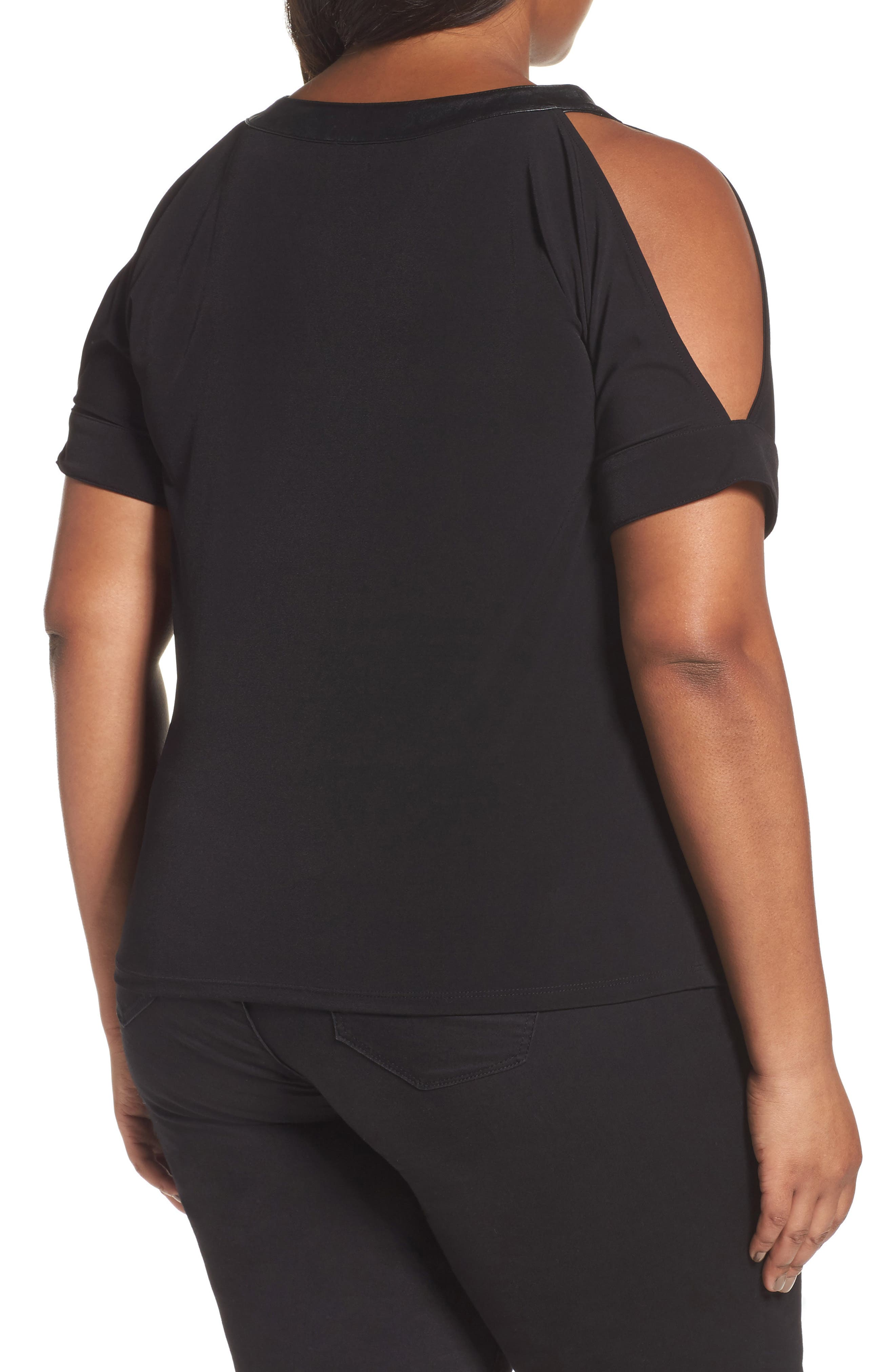 Cold Shoulder Crepe Top with Faux Leather Trim,                             Alternate thumbnail 2, color,                             001
