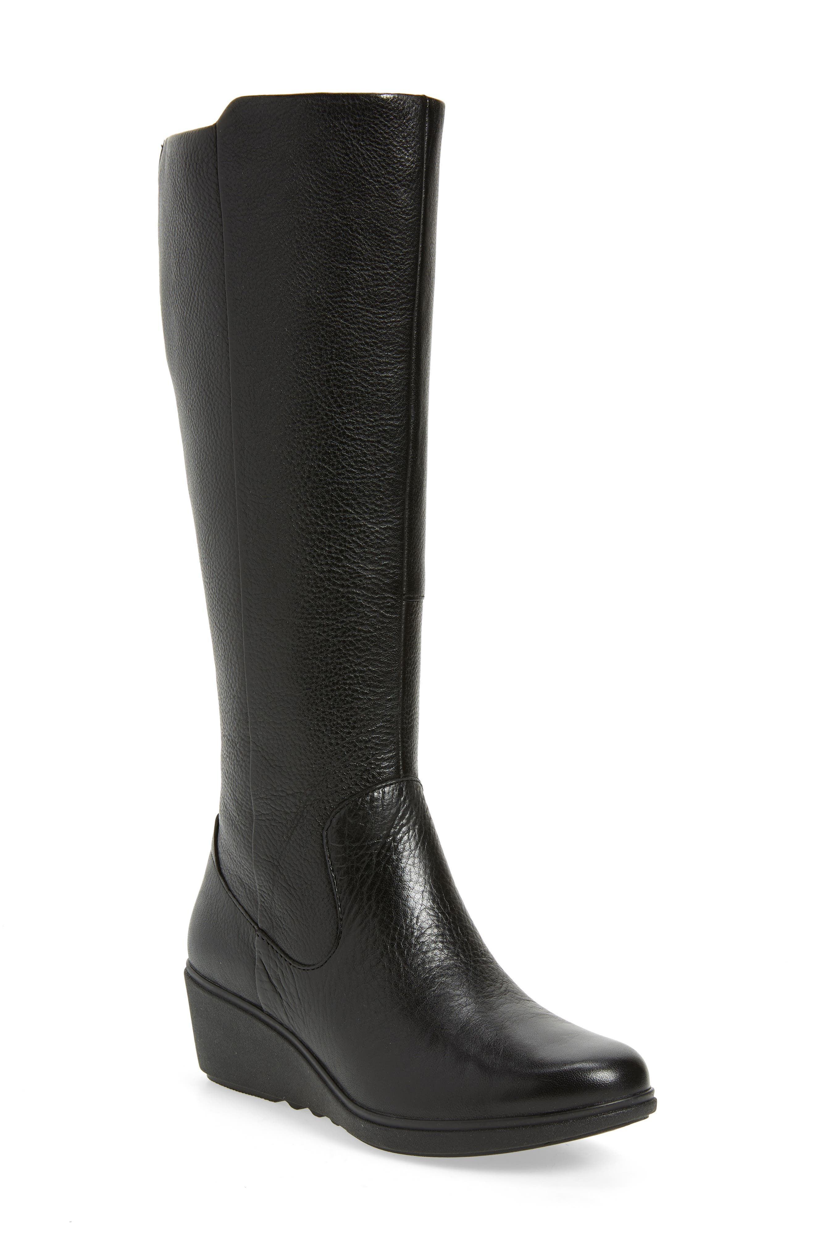 Tallara Esa Wedge Boot,                         Main,                         color, BLACK LEATHER