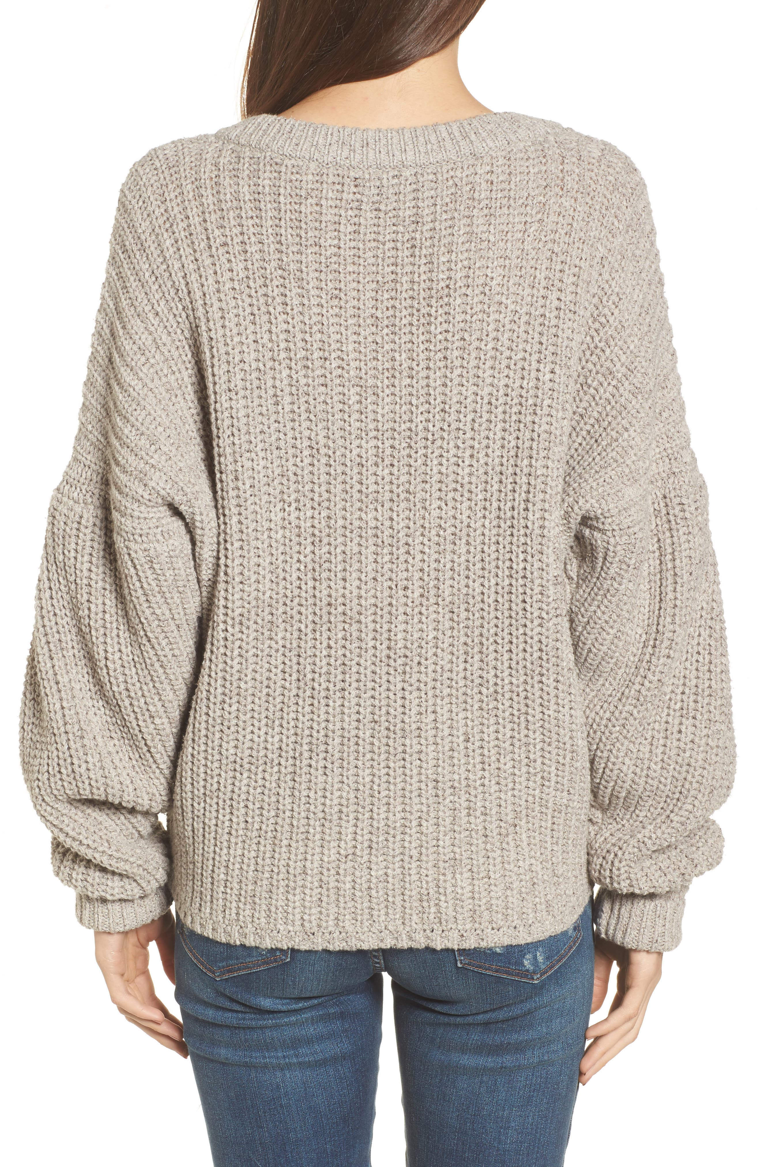 Pleat Sleeve Pullover Sweater,                             Alternate thumbnail 3, color,