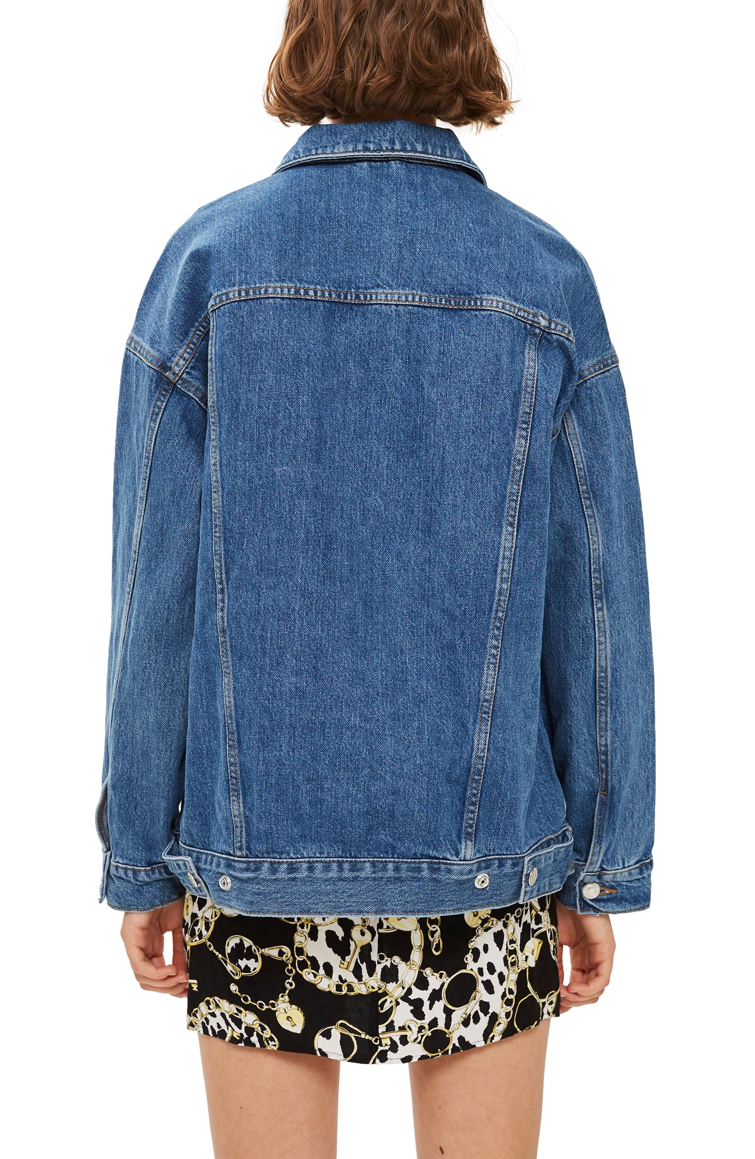 Oversized Denim Jacket,                             Alternate thumbnail 2, color,                             MID DENIM