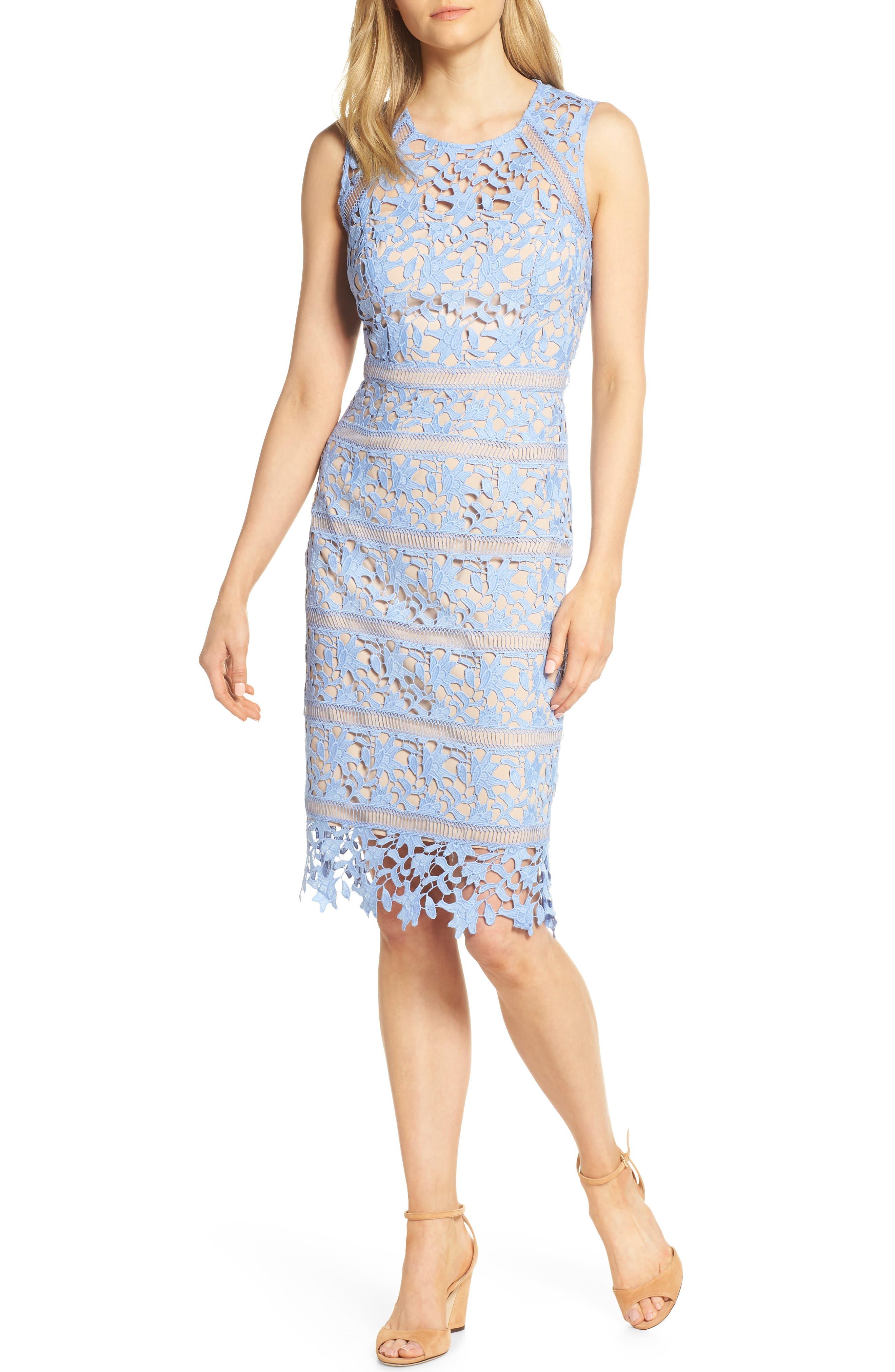 Eliza J Lace Midi Sheath Dress, Blue