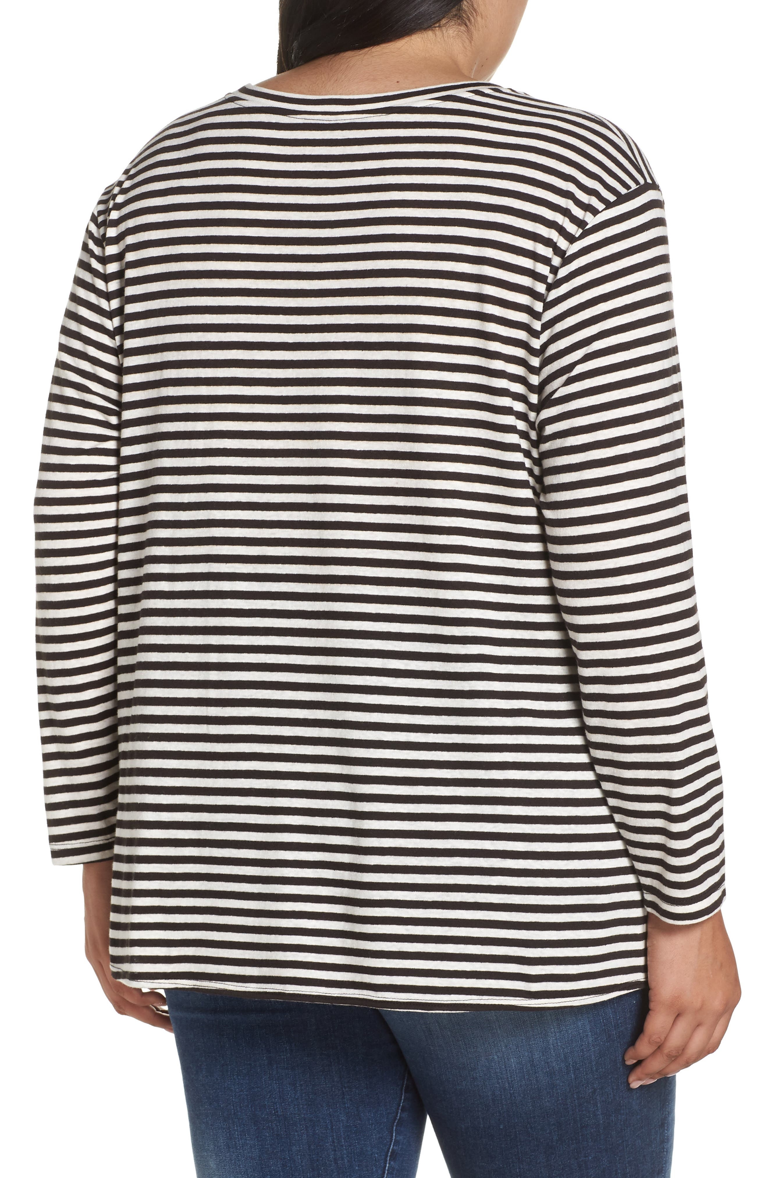 Knot Front Long Sleeve Tee,                             Alternate thumbnail 2, color,                             IVORY- BLACK EVEN STRIPE