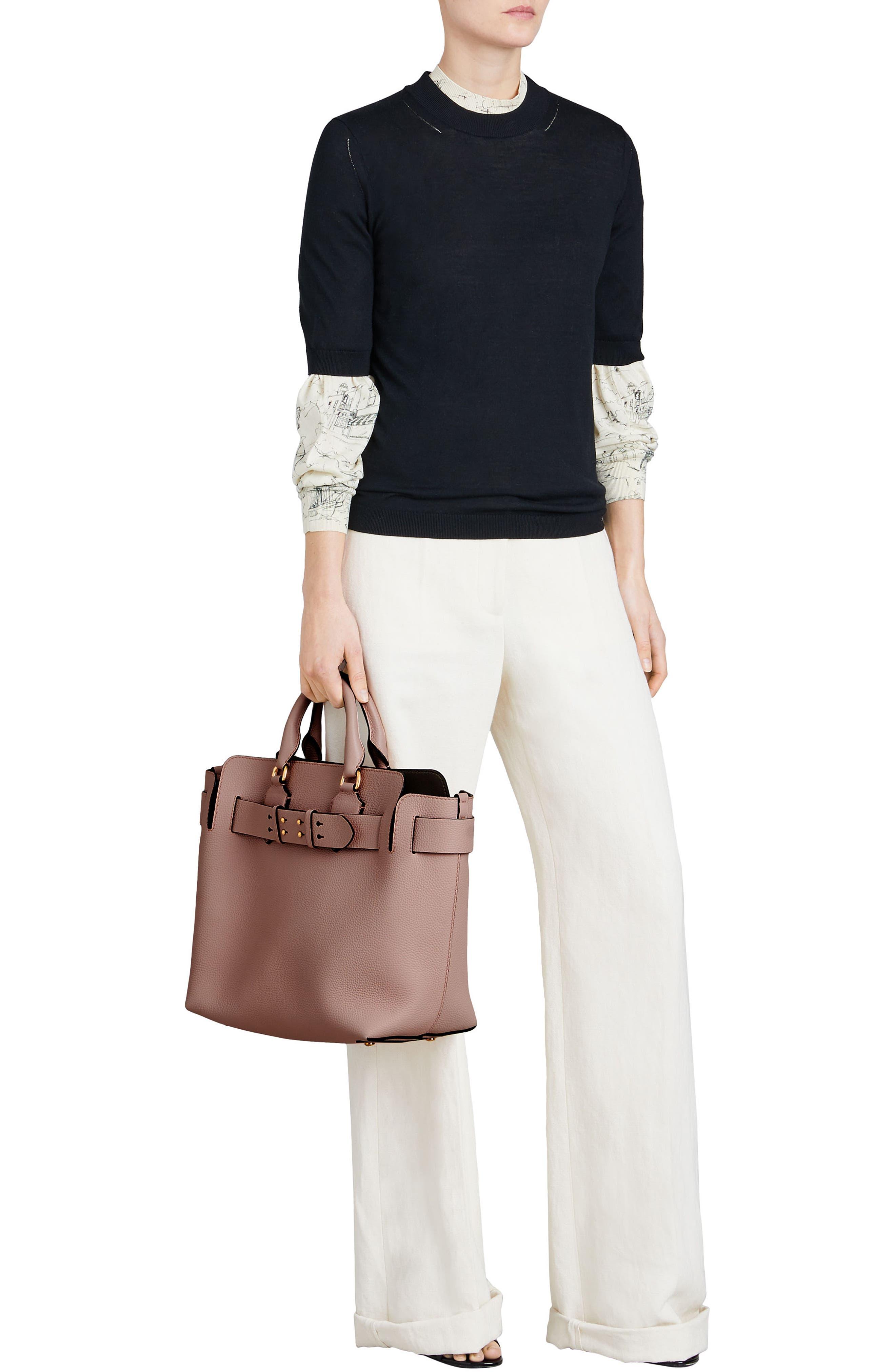 Medium Belt Bag Leather Tote,                             Alternate thumbnail 2, color,                             PALE ASH ROSE