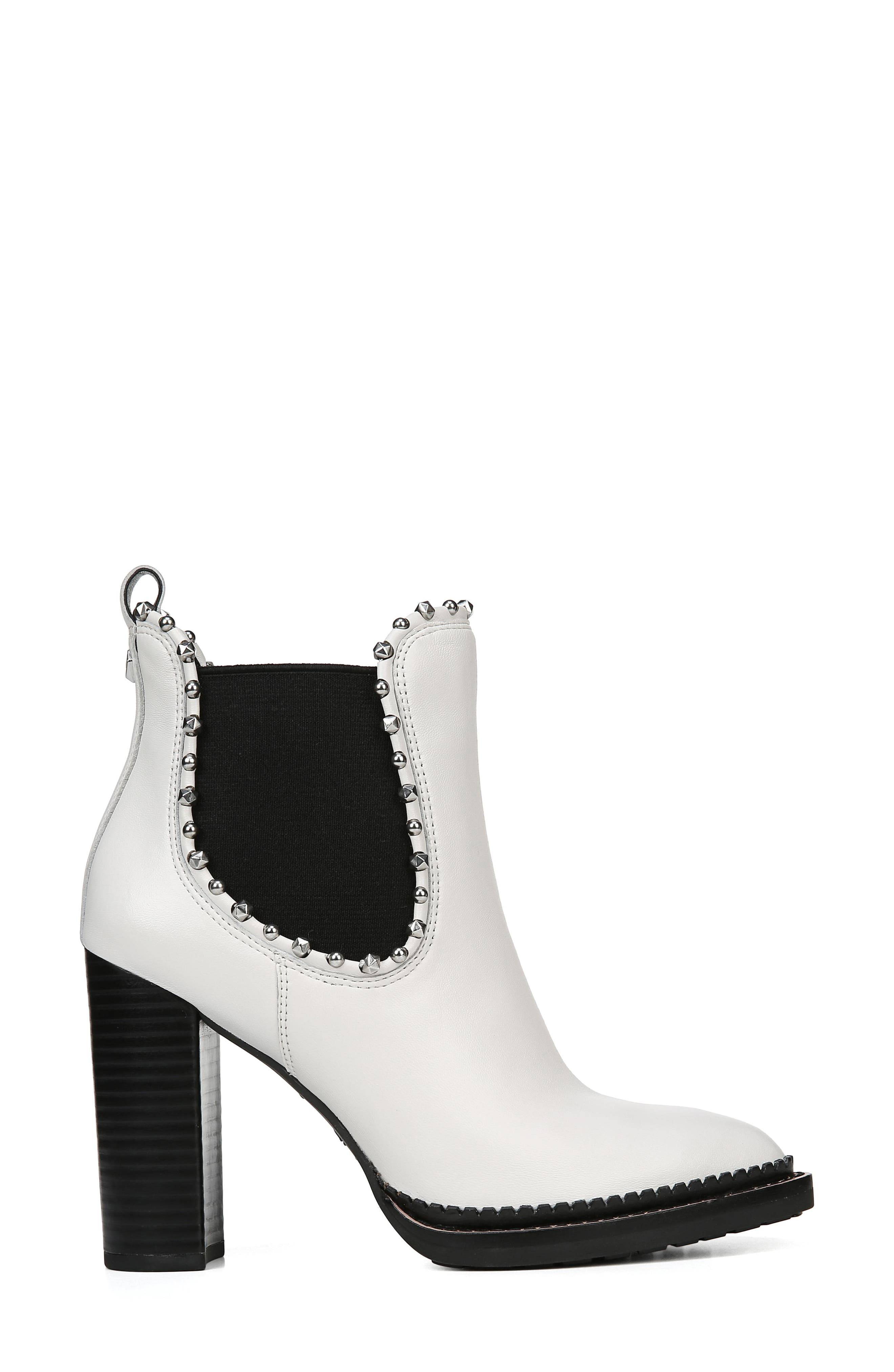 Salma Studded Chelsea Boot,                             Alternate thumbnail 3, color,                             BRIGHT WHITE LEATHER